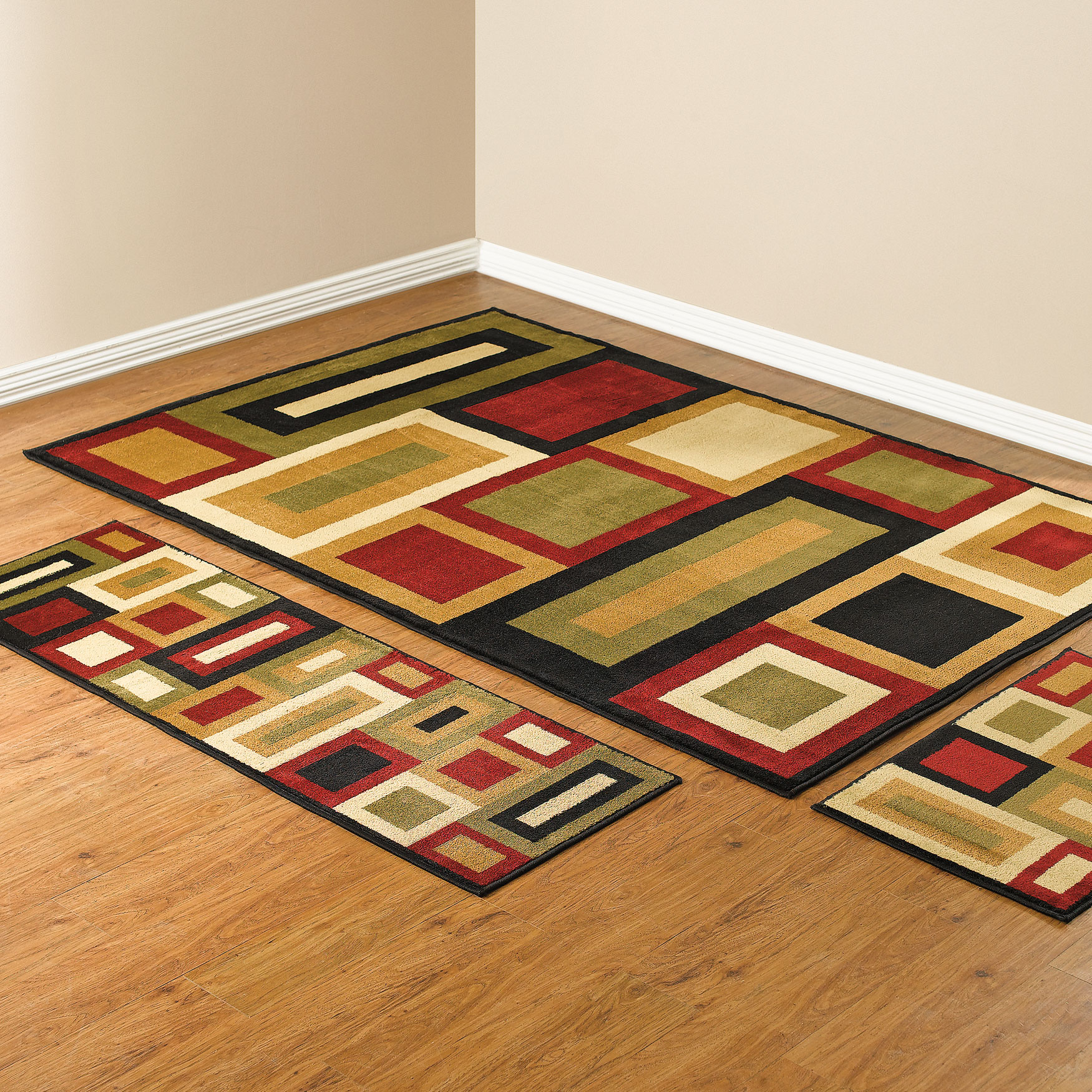 Royalty Geo 3 Pc Rug Set With Runner, Rug Sets For Living Rooms