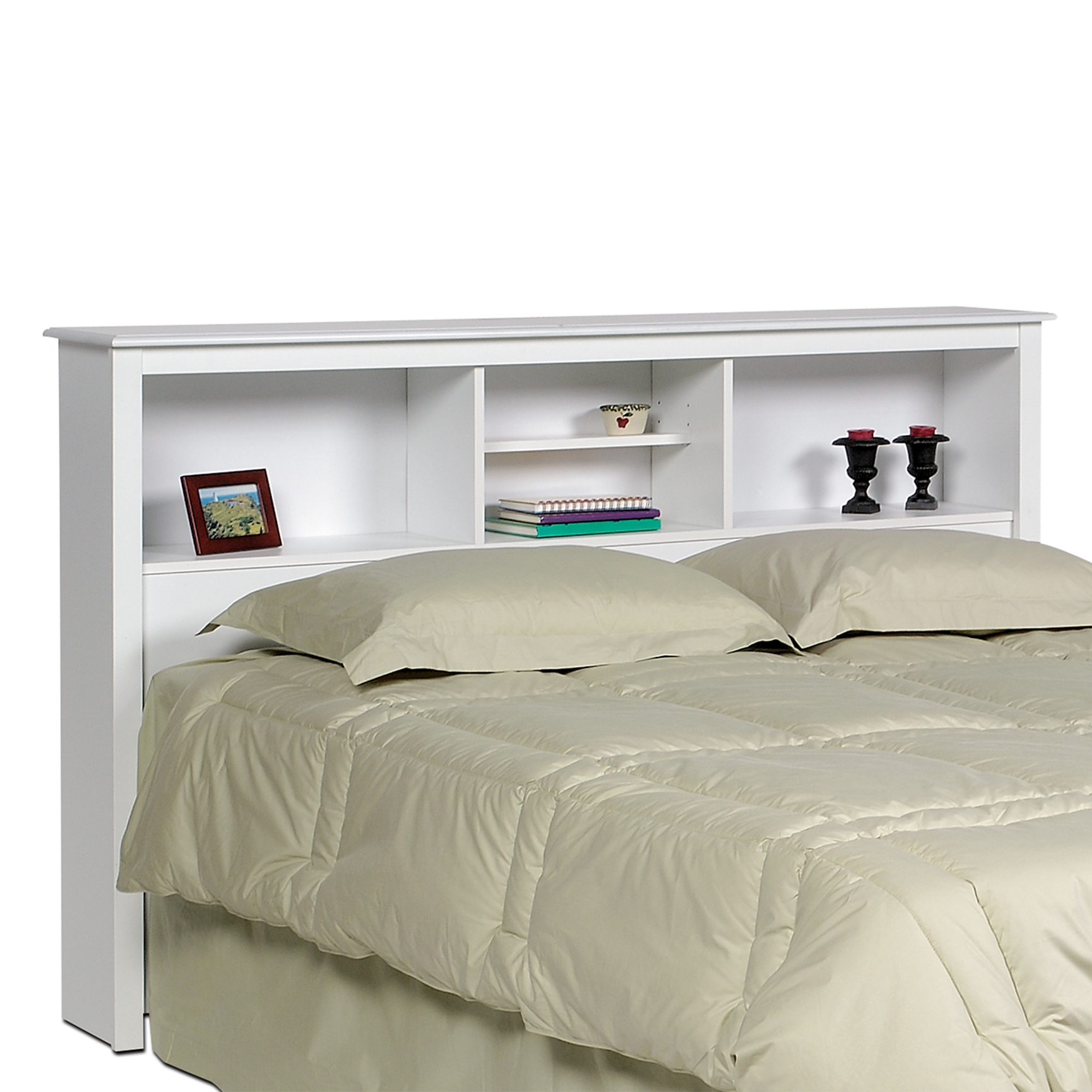Monterey White Double /  Queen Bookcase Headboard, WHITE