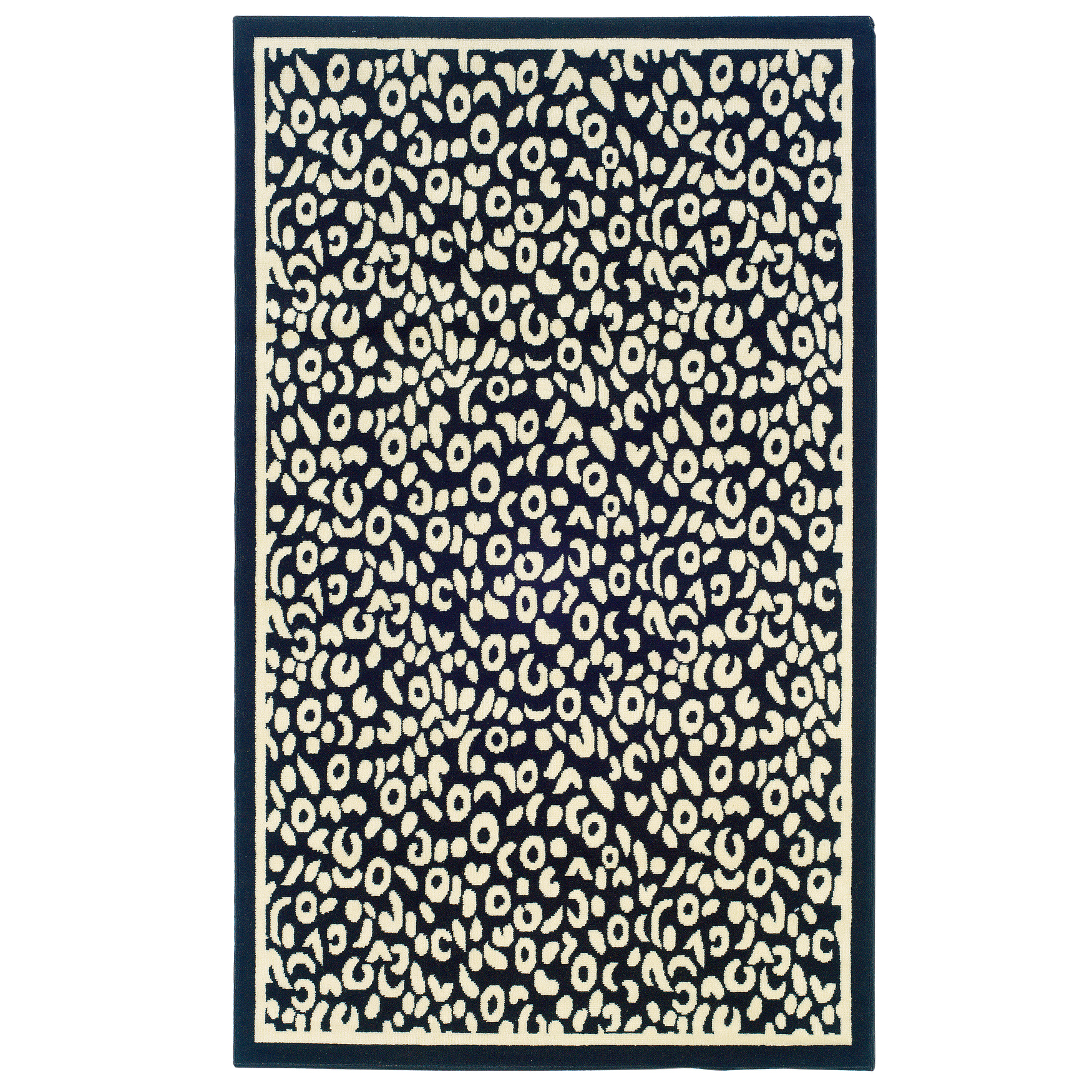 Capri Black/White 5' x 7' Area Rug, BLACK WHITE