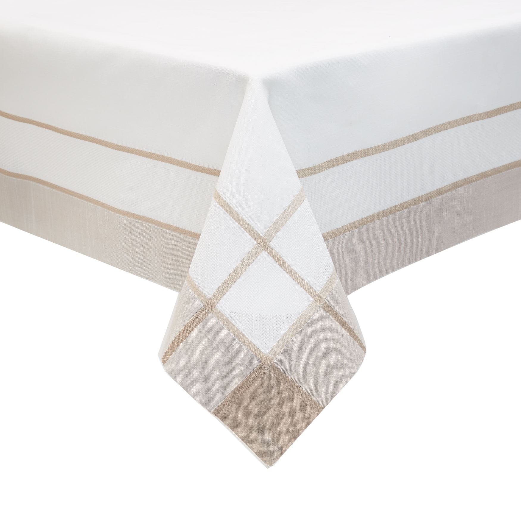 Two-Tone Border Tablecloth, WHITE BEIGE