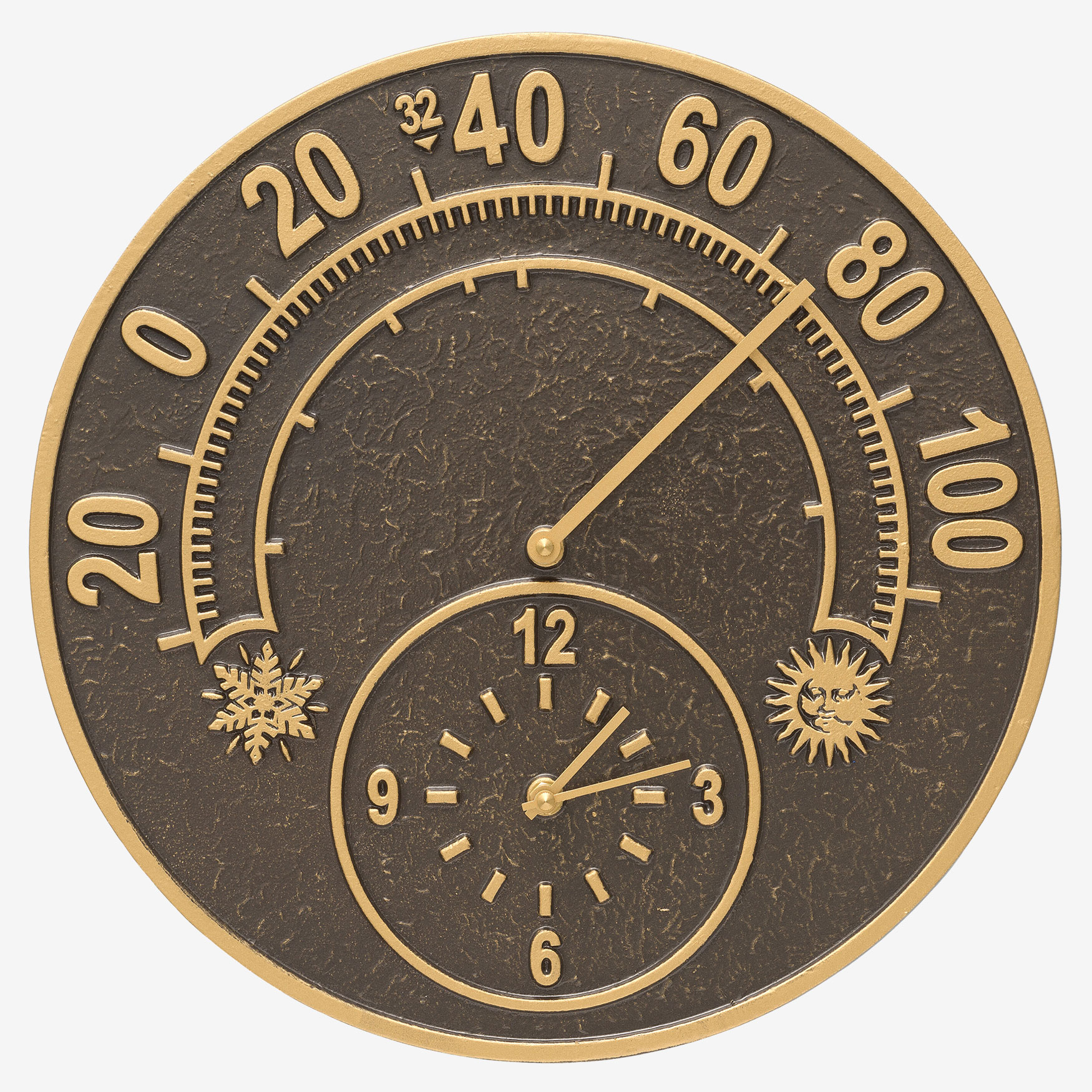 Solstice Thermometer Clock, FRENCH BRONZE