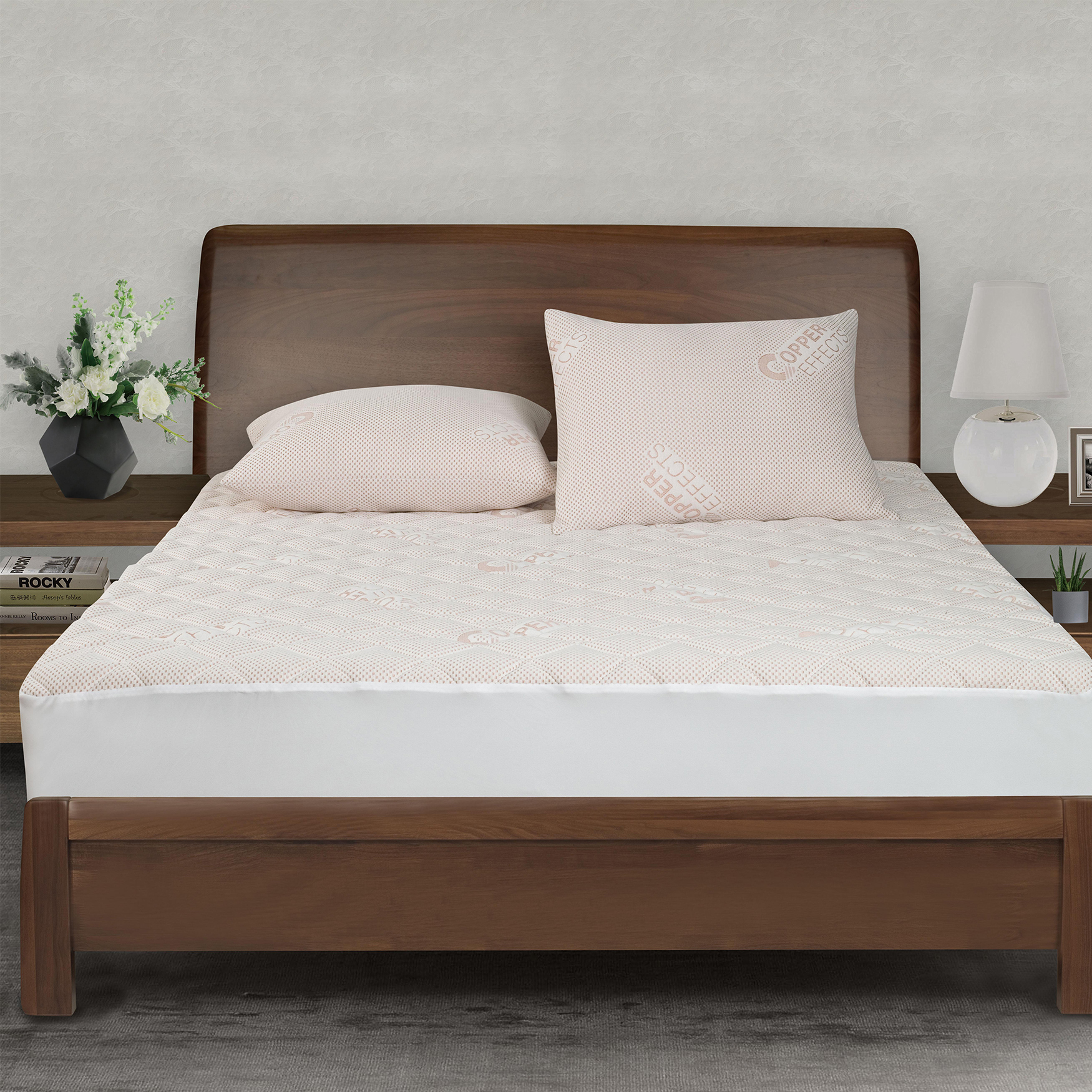 All-In-One Copper Effects Antimicrobial Fitted Mattress Pad, Twin,