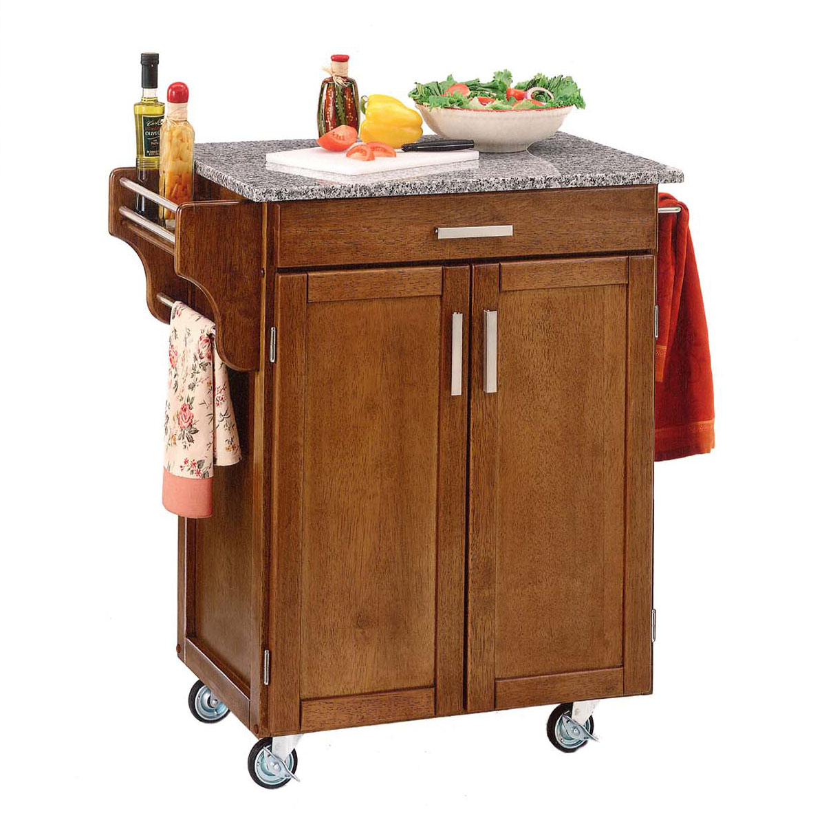 Cottage Oak Finish Create a Cart with Salt & Pepper Granite Top , OAK SALT WATER DIVE PEPPER