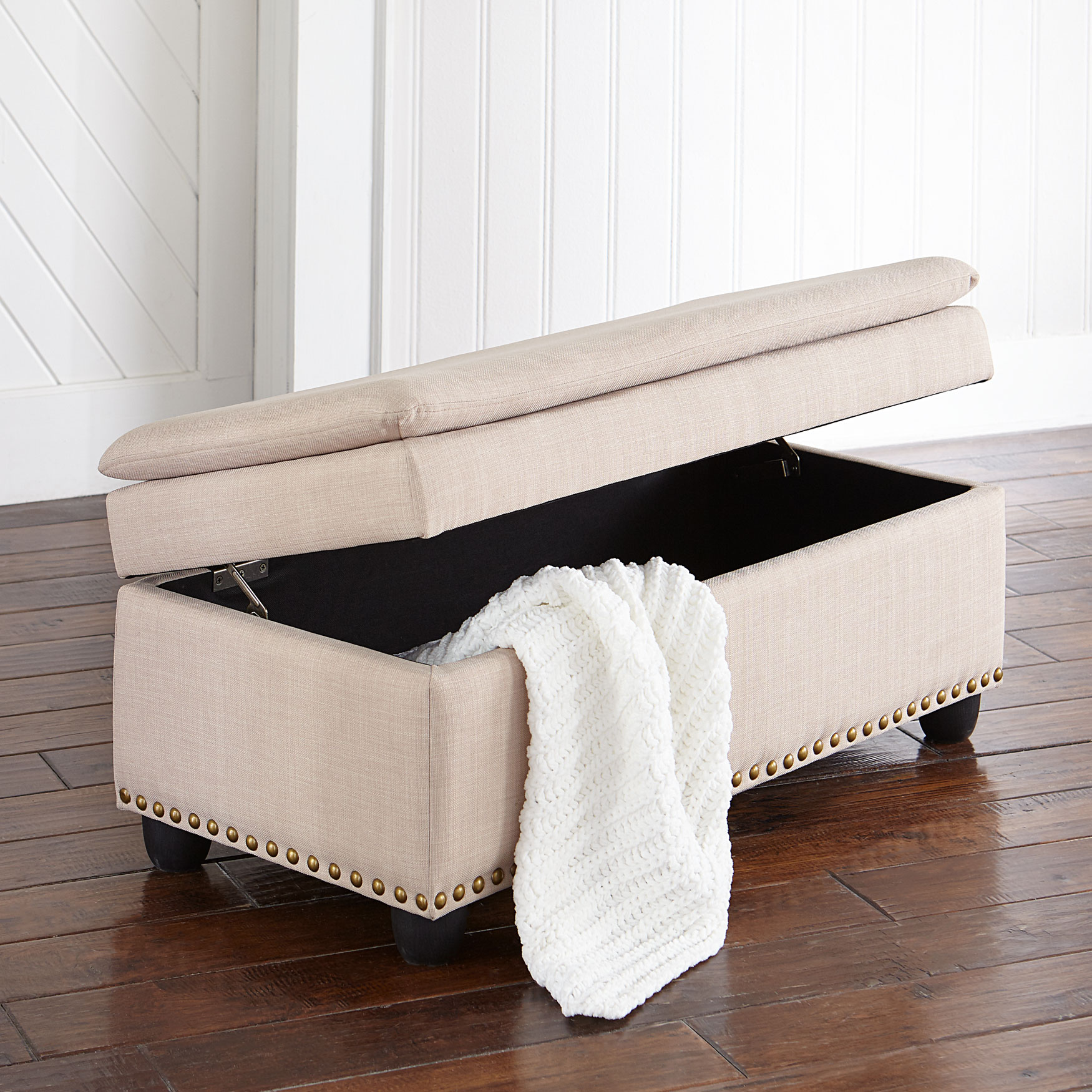Extra Wide Ottoman With Studs, OATMEAL
