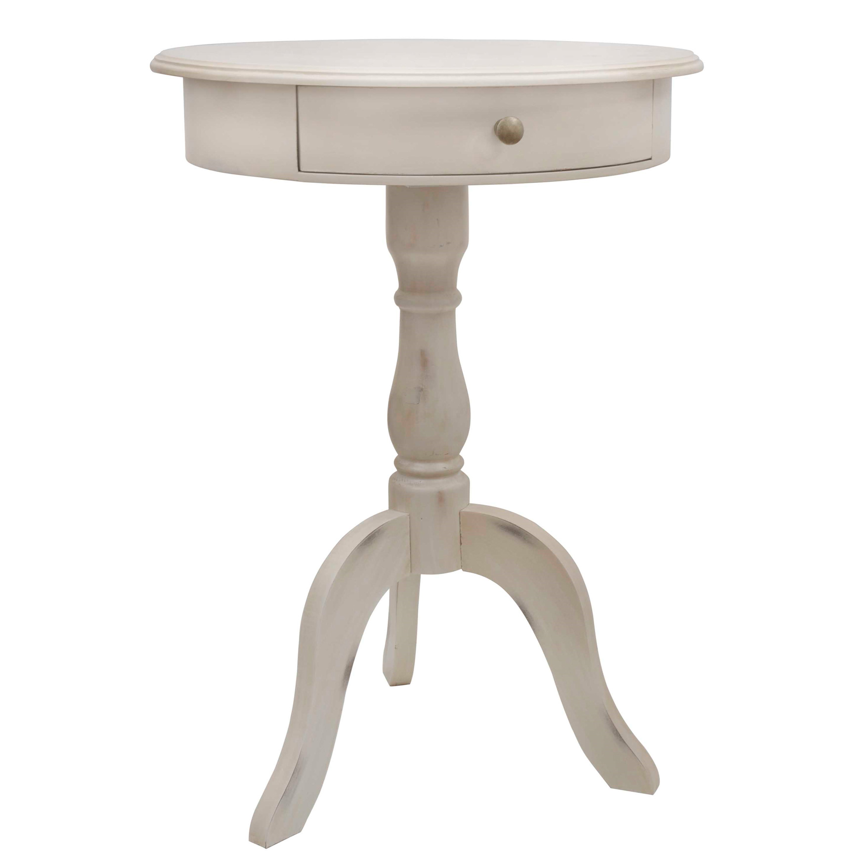 Pedestal Table with Drawer, ANTIQUE WHITE