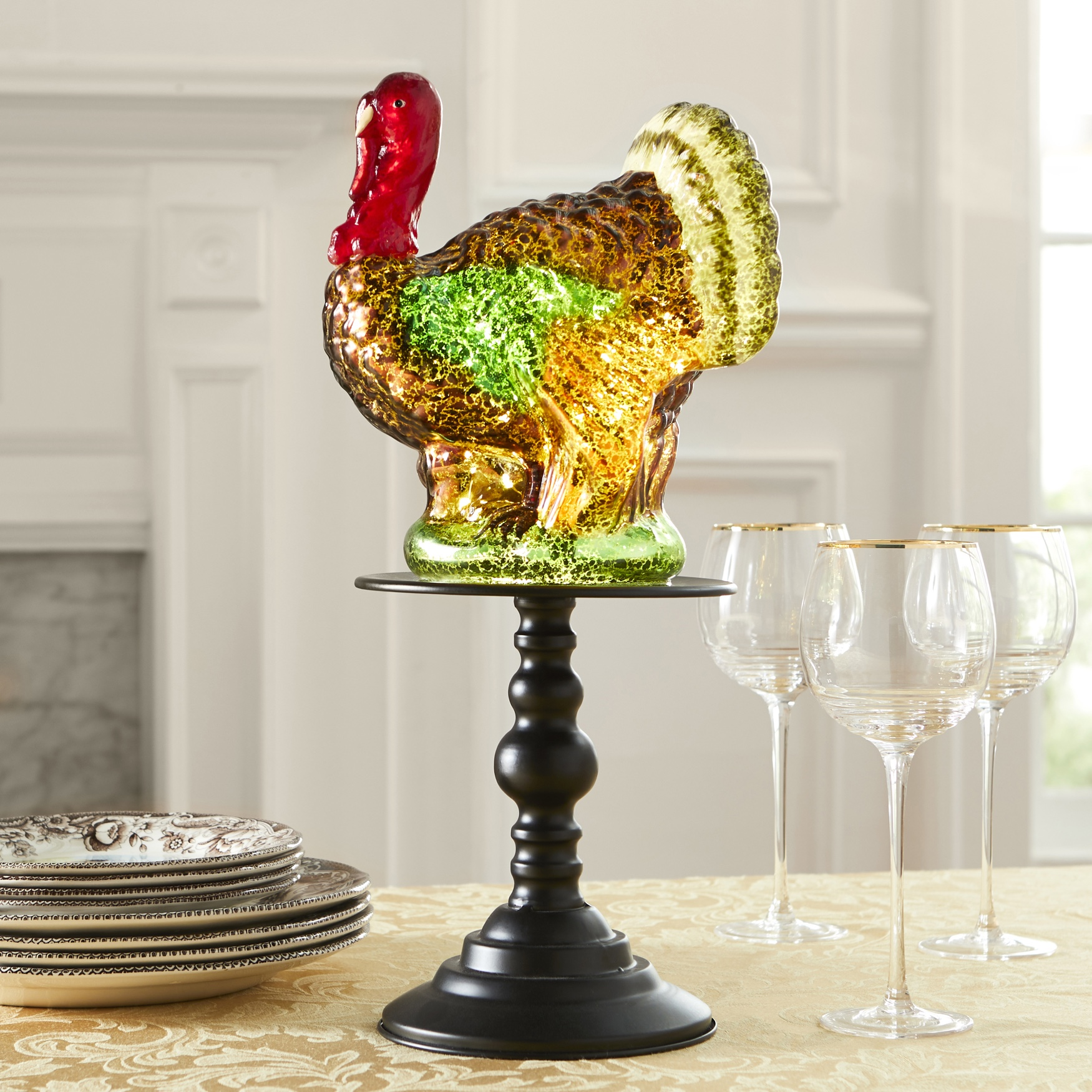 17¼€ Pre-Lit Glass Turkey on Stand, MULTI