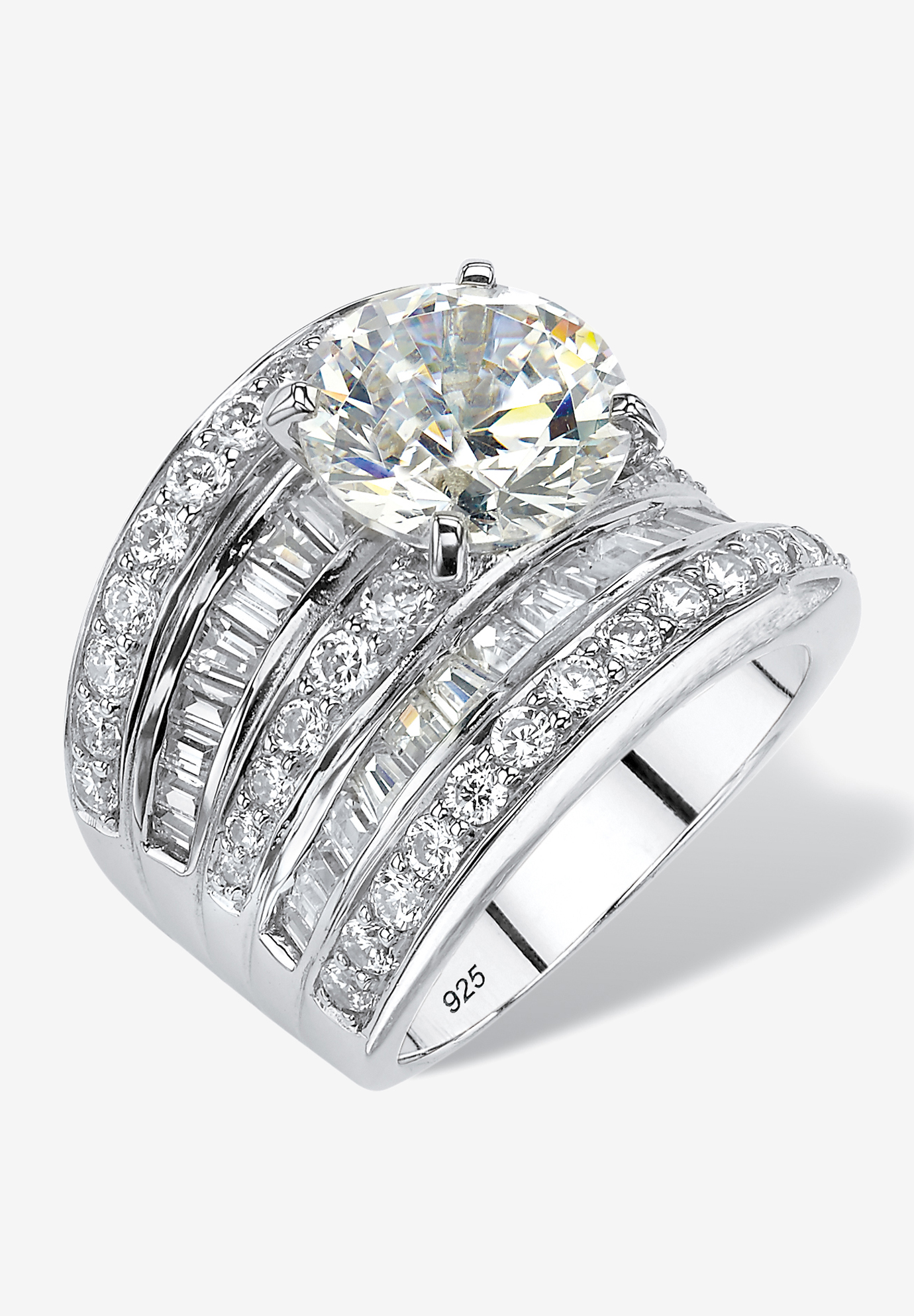 Platinum over Silver Engagement Ring Cubic Zirconia (7 1/7 cttw TDW),