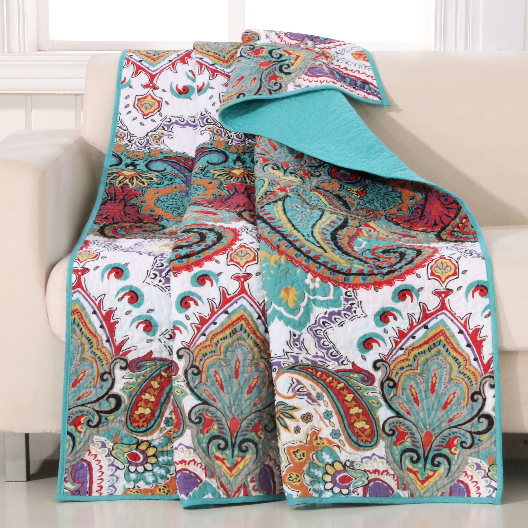 Greenland Home Fashions Nirvana Quilted Throw Blanket, TEAL