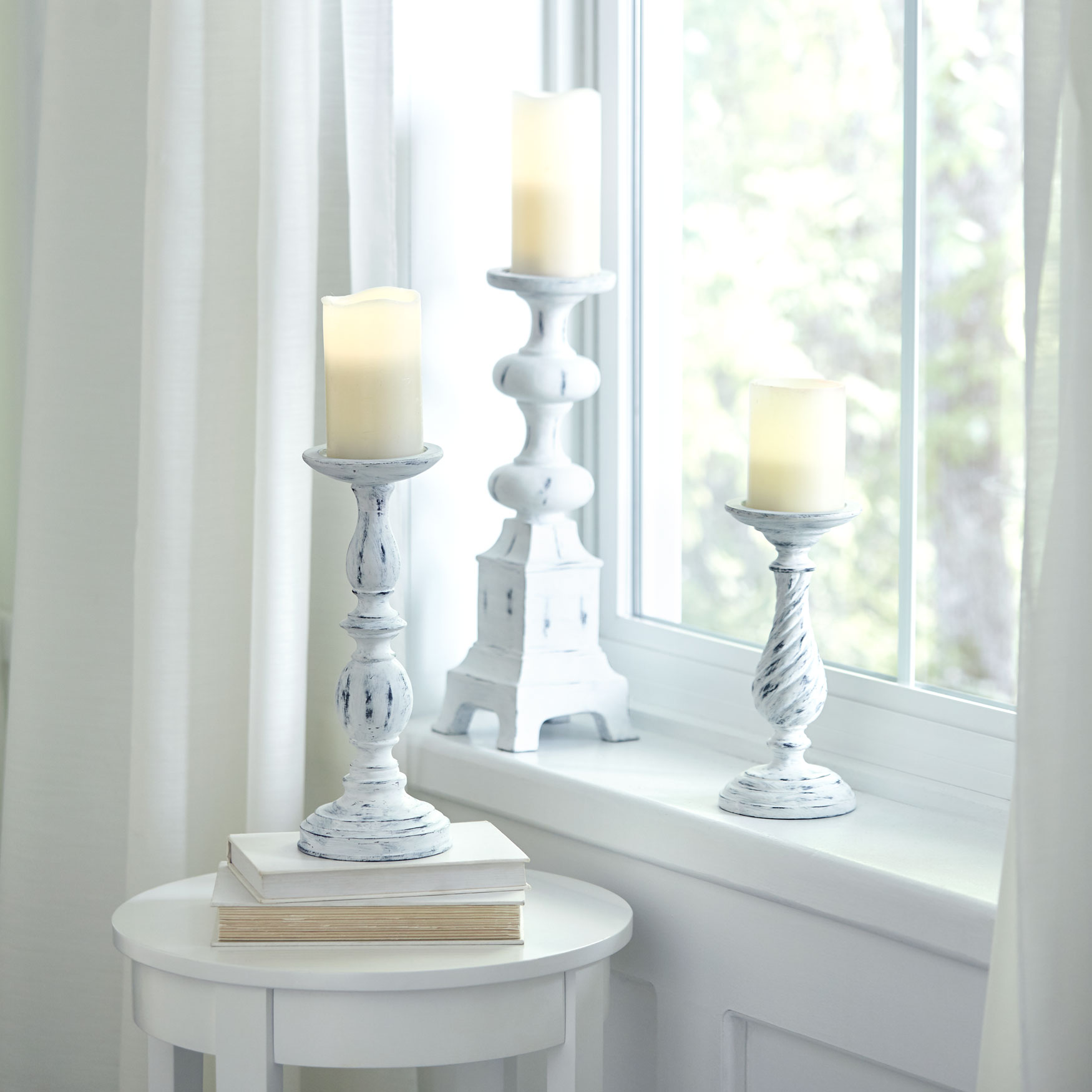 White Washed Candlesticks, Set of 3, WHITE WASHED