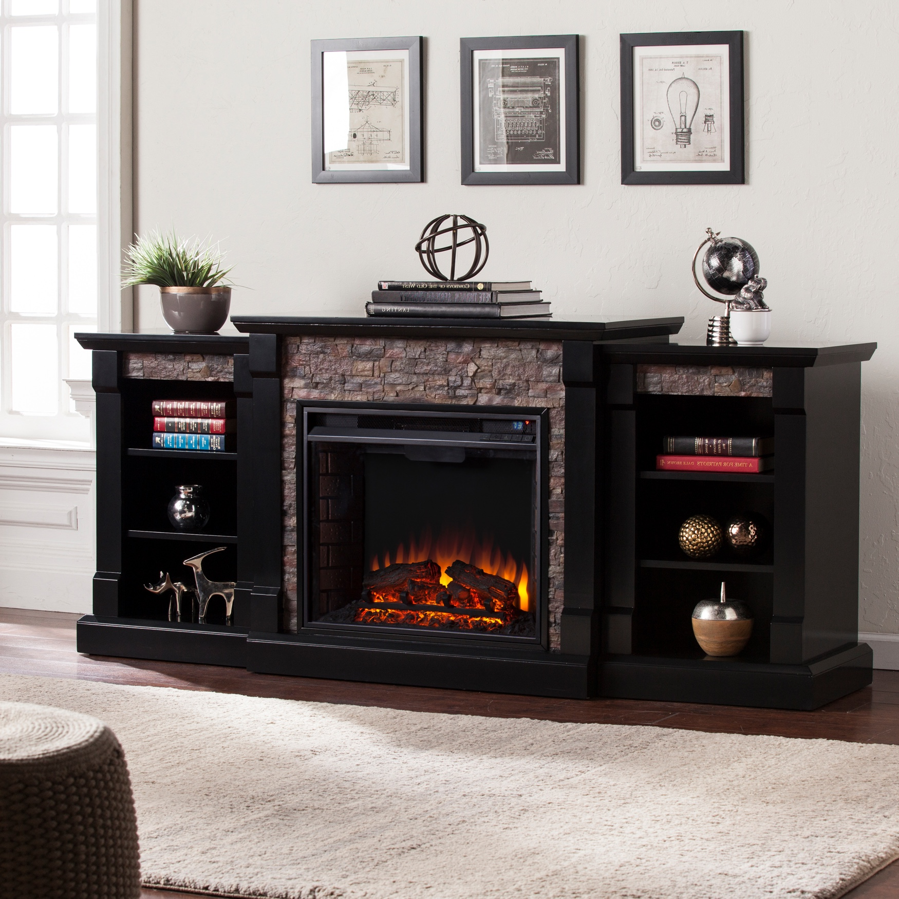 Gallatin Faux Stone Electric Fireplace with Bookcases, BLACK