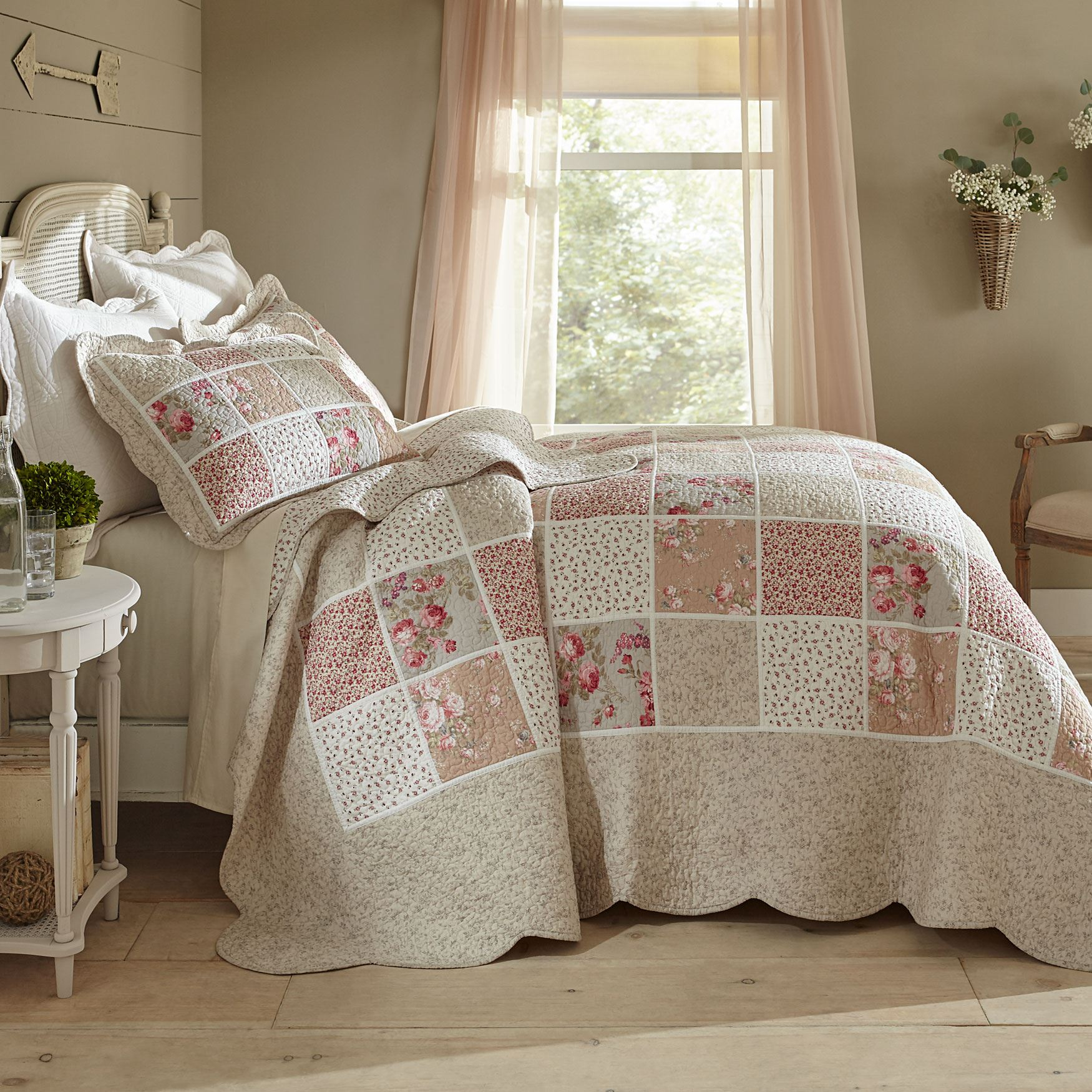 Isabella Floral Printed Patchwork Bedspread Collection,