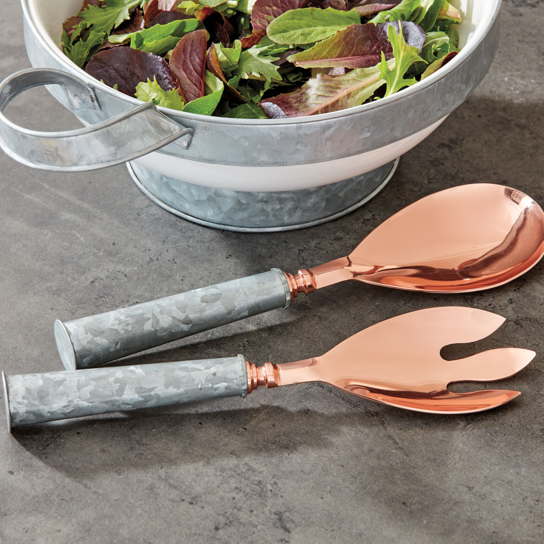 Copper-Finish Salad Servers, Set of 2, COPPER