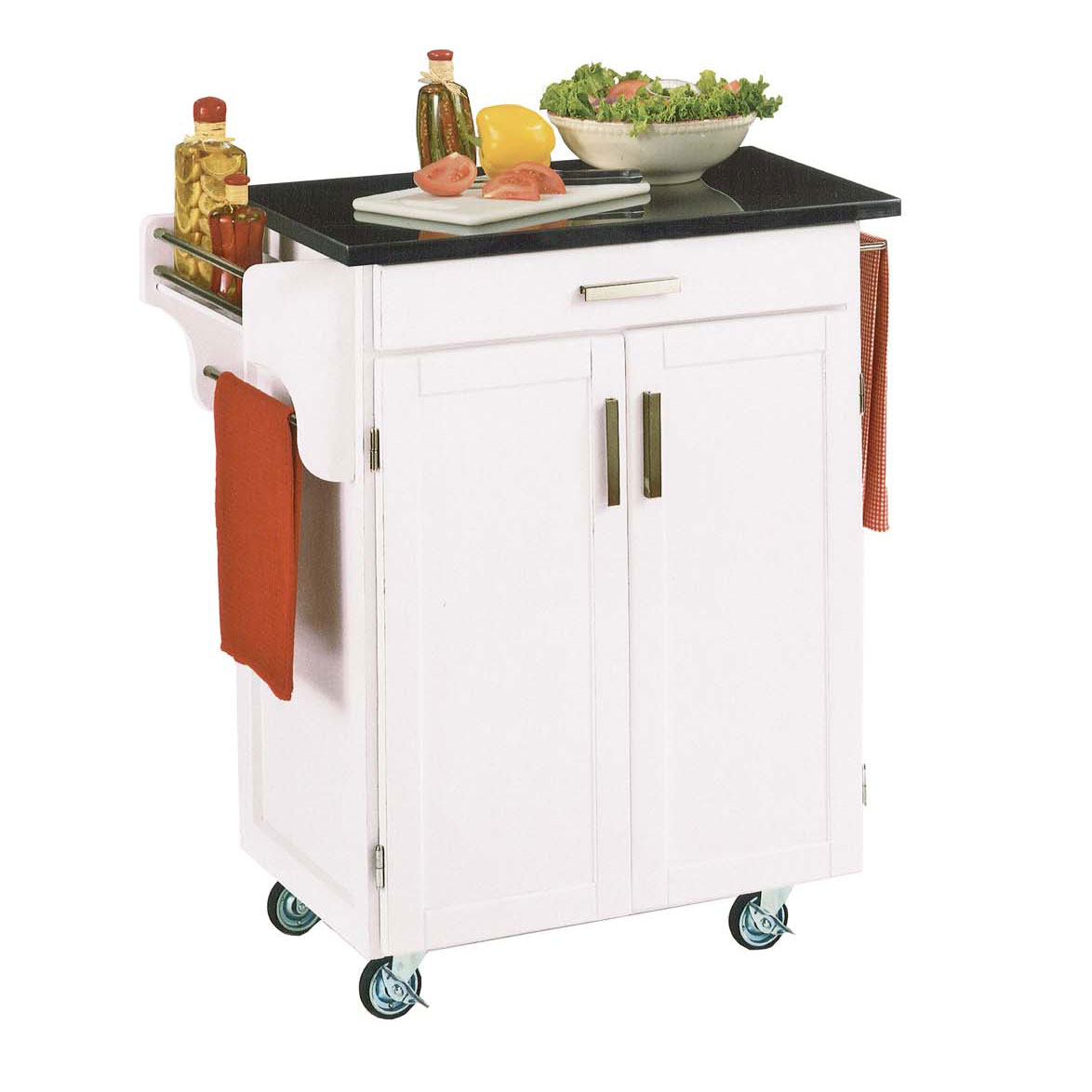 White Wood Cuisine Kitchen Cart with Black Granite Top, WHITE BLACK
