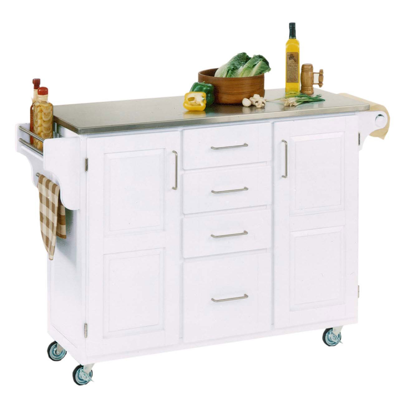 Large White Finish Create a Cart with Stainless Steel Top , STAINLESS STEEL