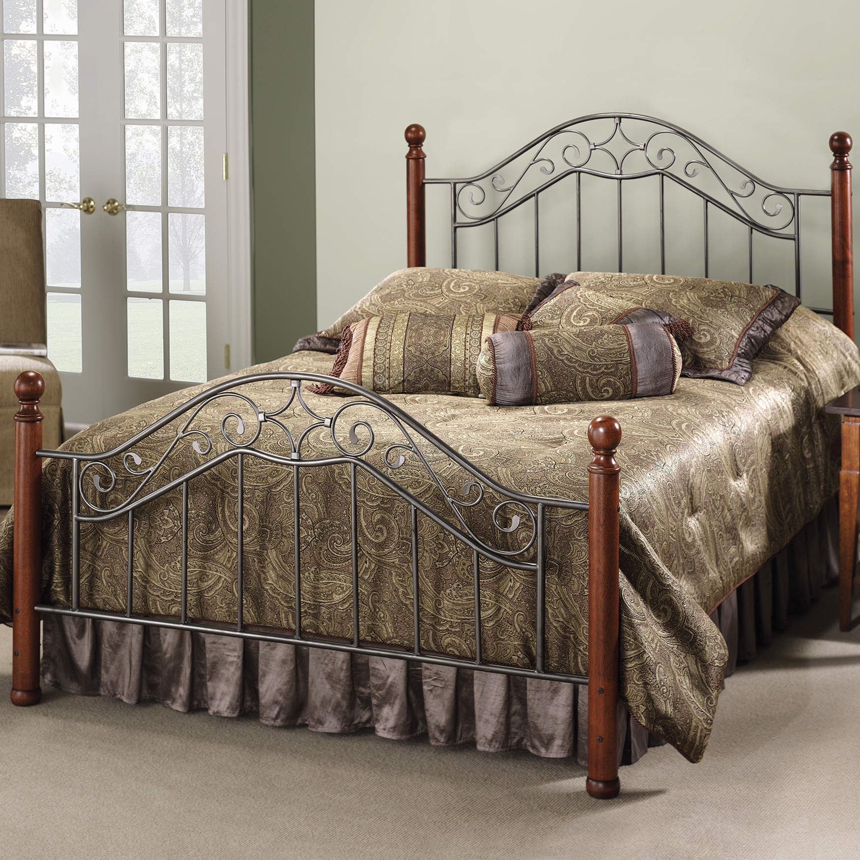 "Full Bed with Bed Frame, 76""Lx55""Wx53½""H, SILVER"