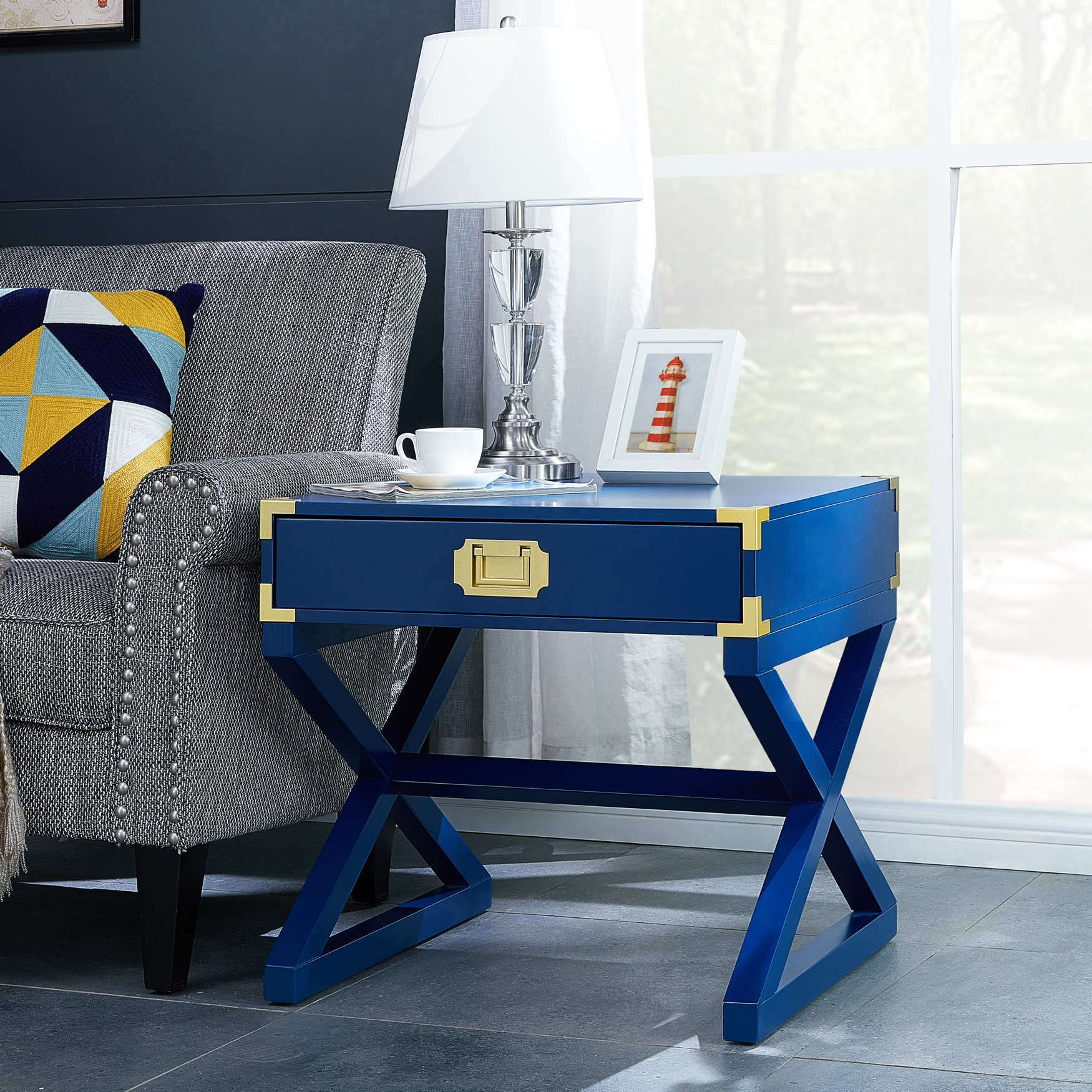 Campaign End Table, NAVY