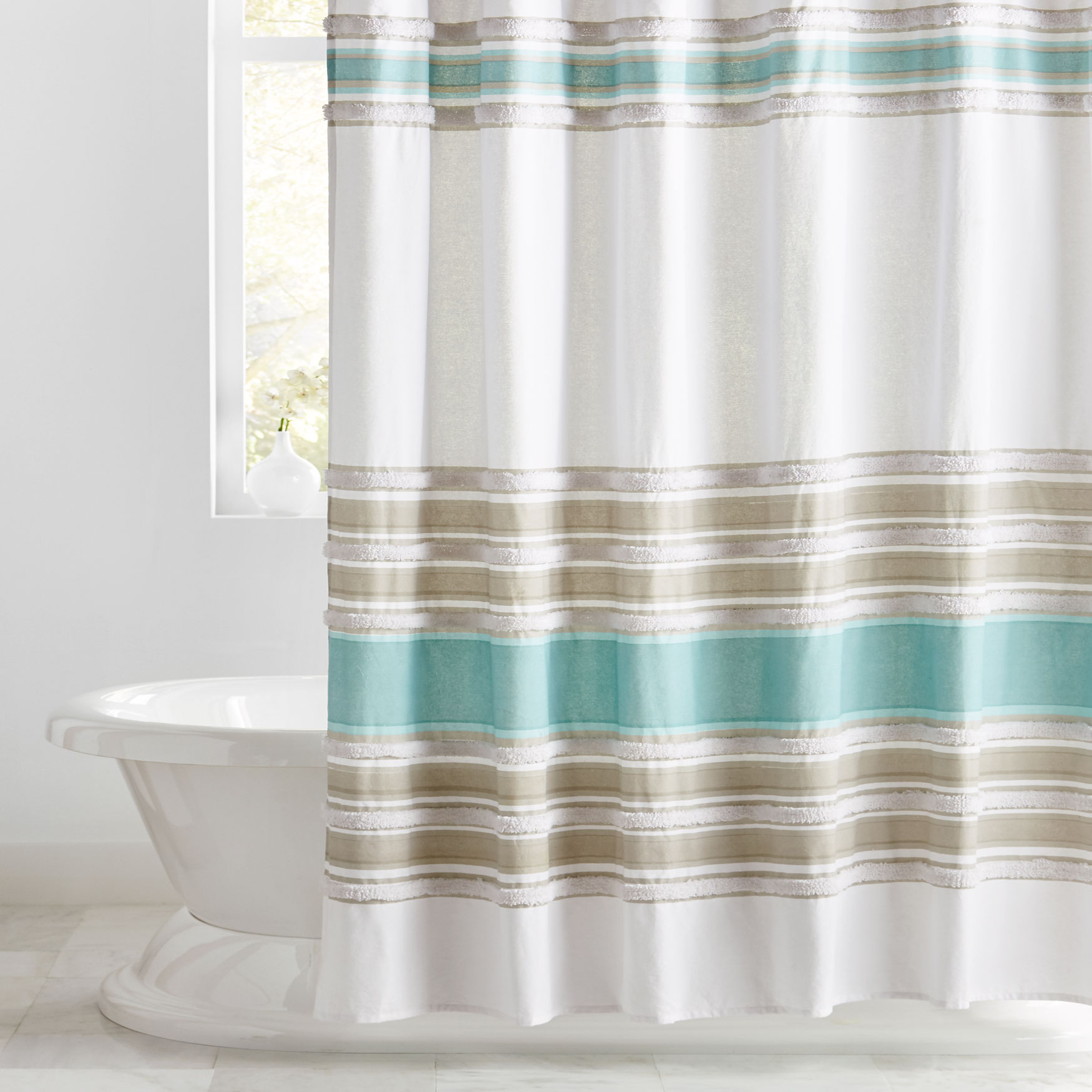 Merlin Cotton Tufted Shower Curtain, SEAFOAM