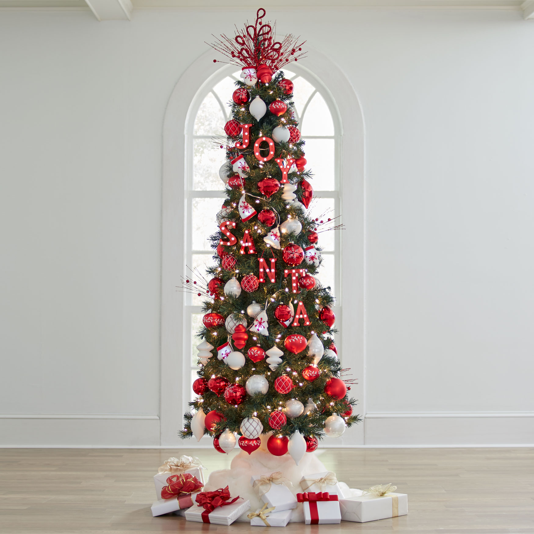 7 slim pre lit tree green - Pre Lit Slim Christmas Tree