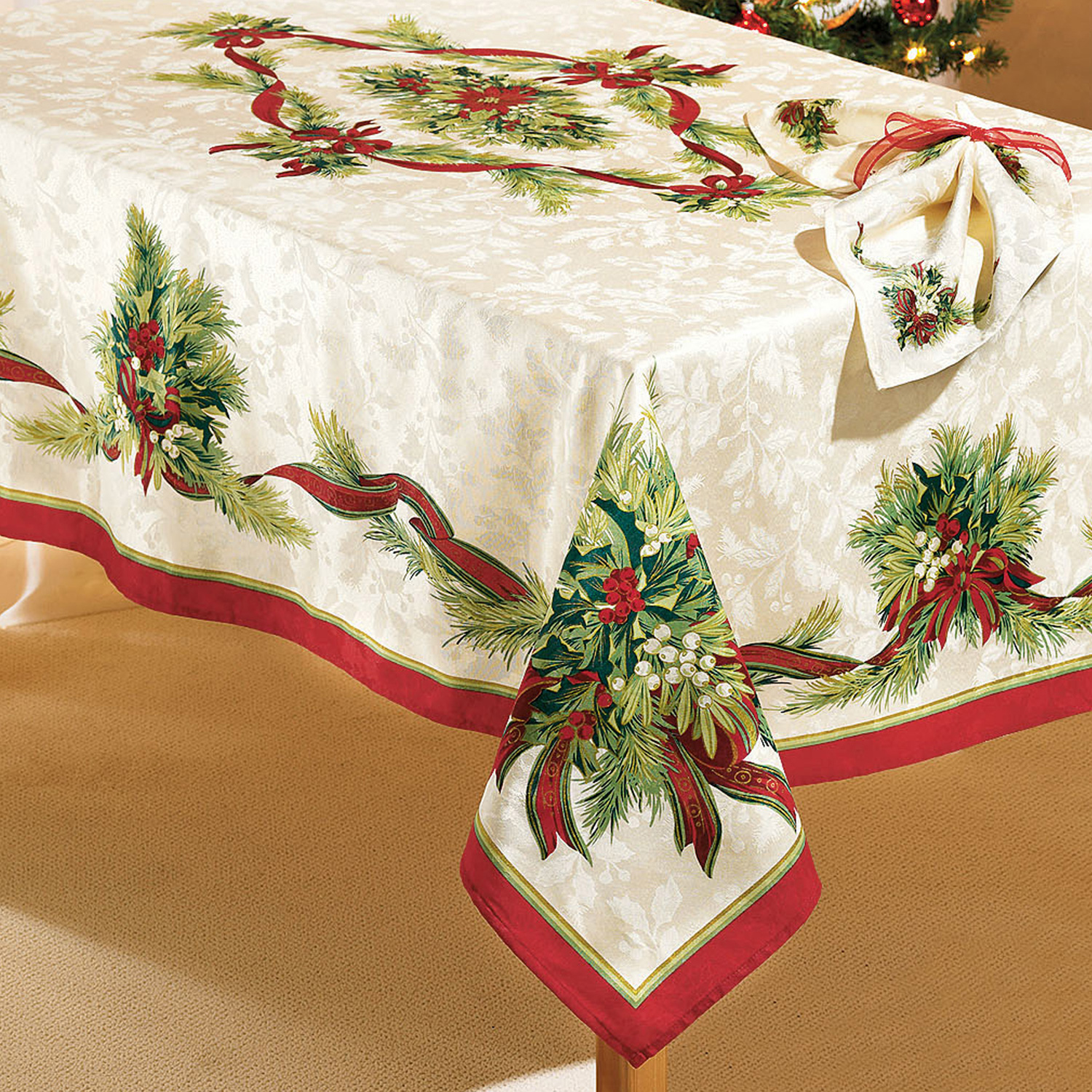 "Christmas Ribbons Tablecloth, 60""x104"" Oblong, CHRISTMAS RIBBON"