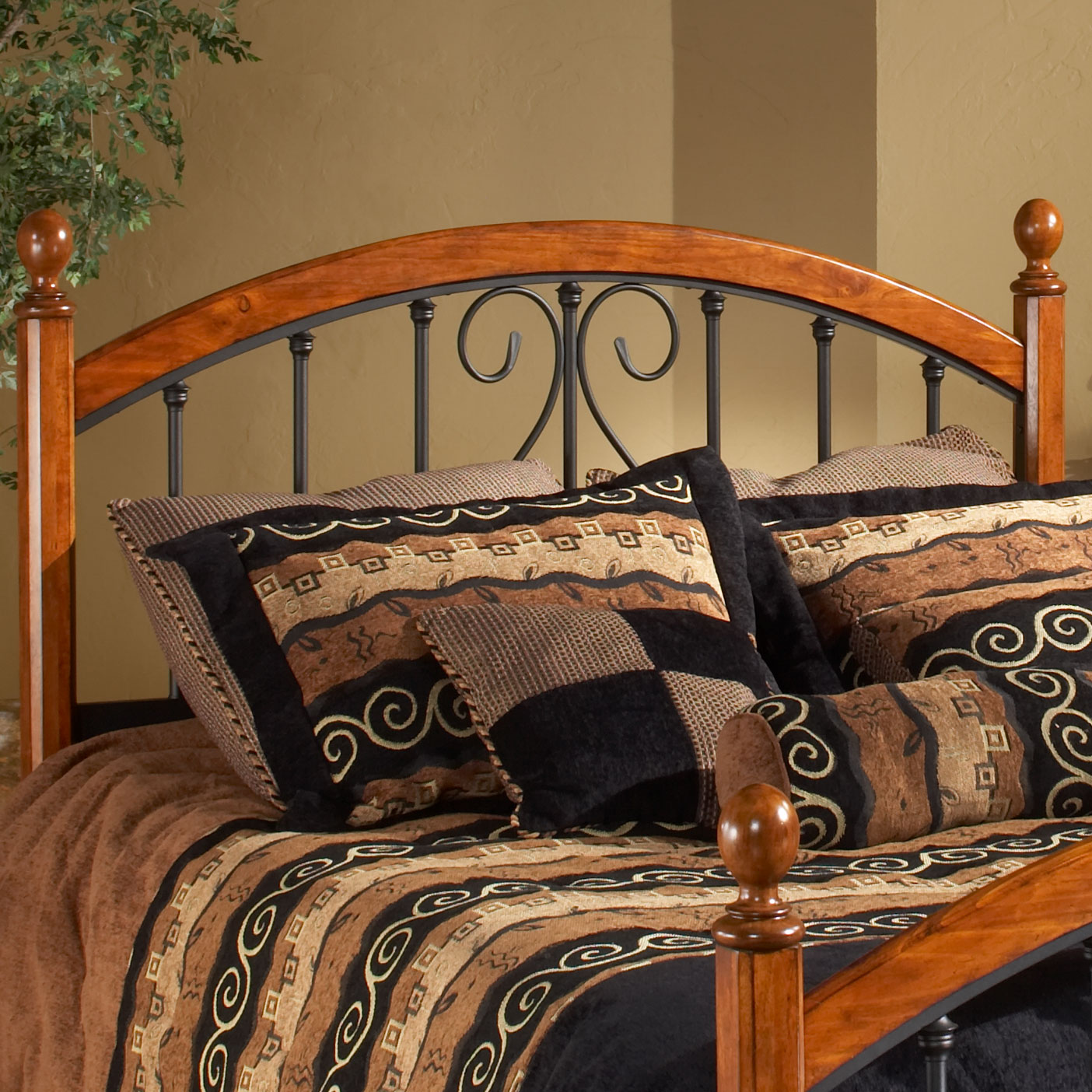 "Full/Queen Headboard with Headboard Frame, 71½""Lx62""Wx54¼""H, ANTIQUE BRONZE"