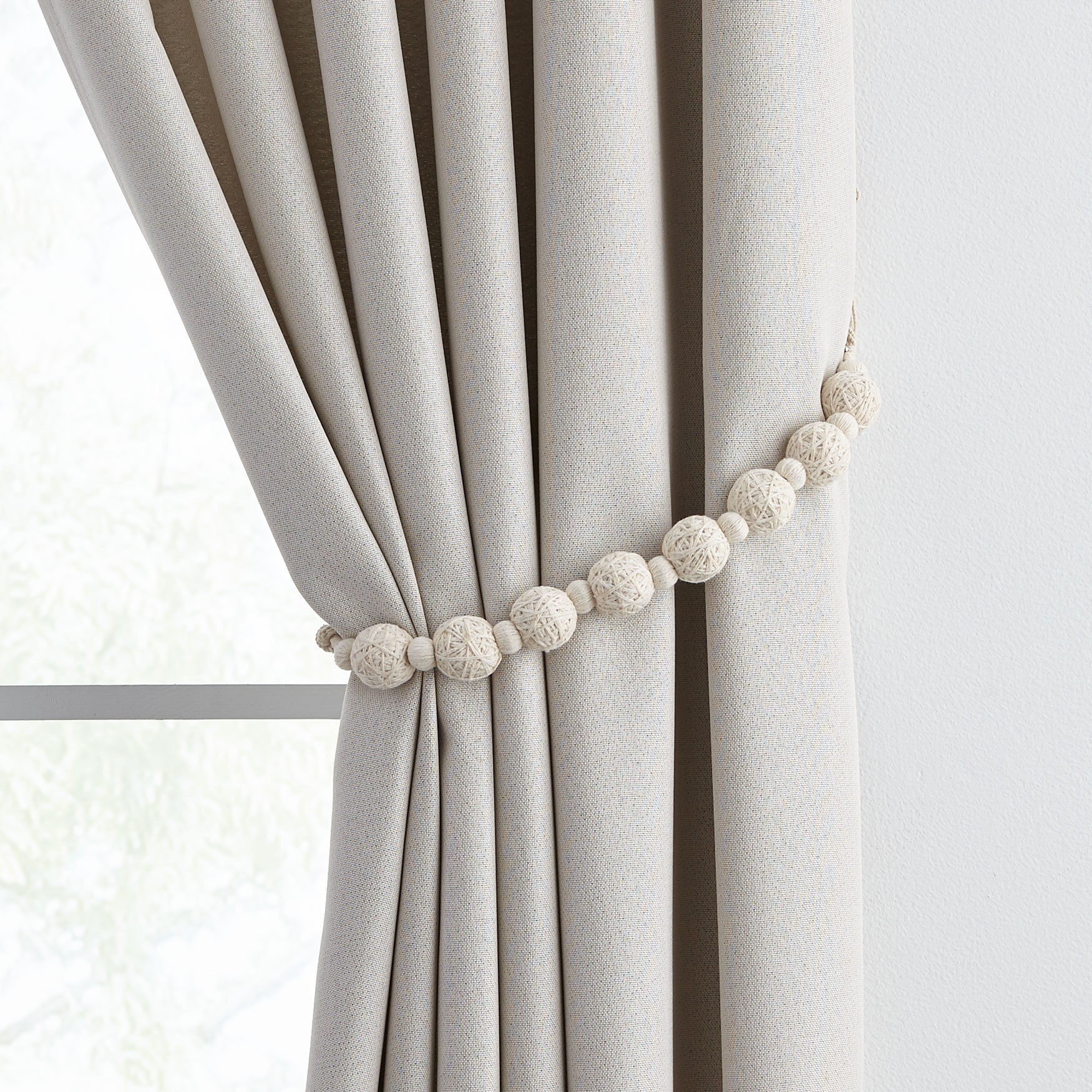 Ball Tiebacks, Set of 4 , IVORY
