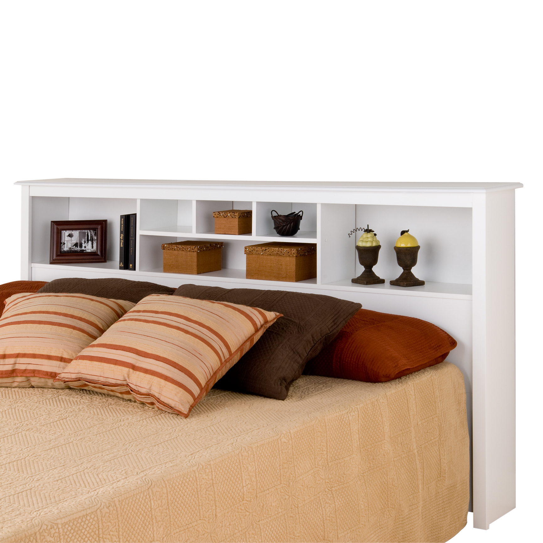 Monterey White King Bookcase Headboard, WHITE