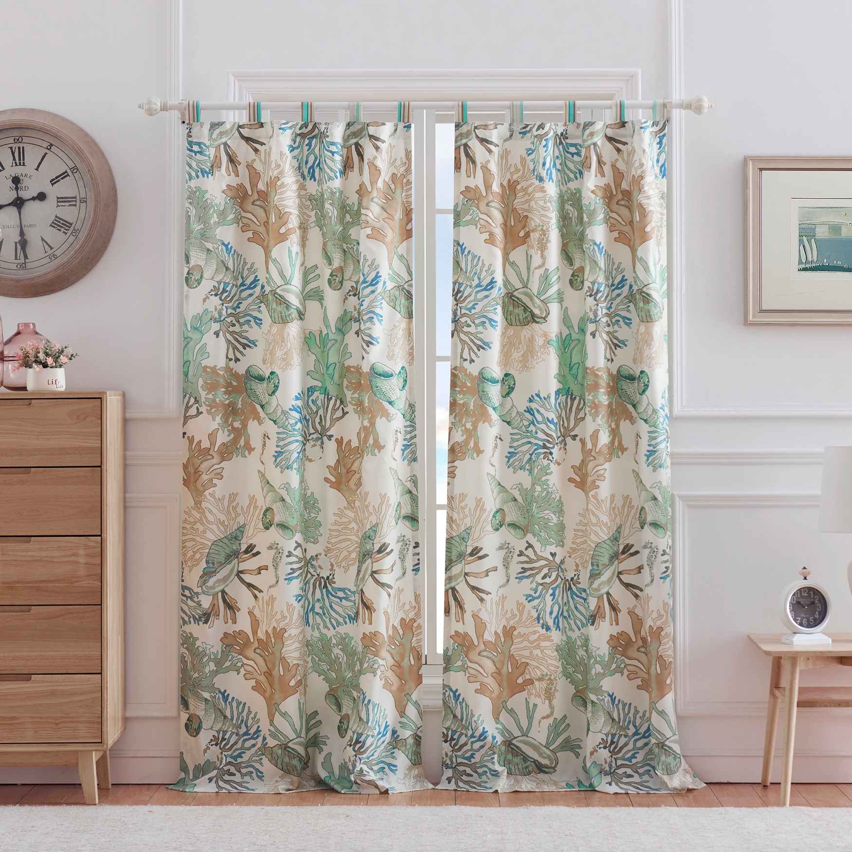 Atlantis Jade Curtain Panel Pair by Barefoot Bungalow, JADE