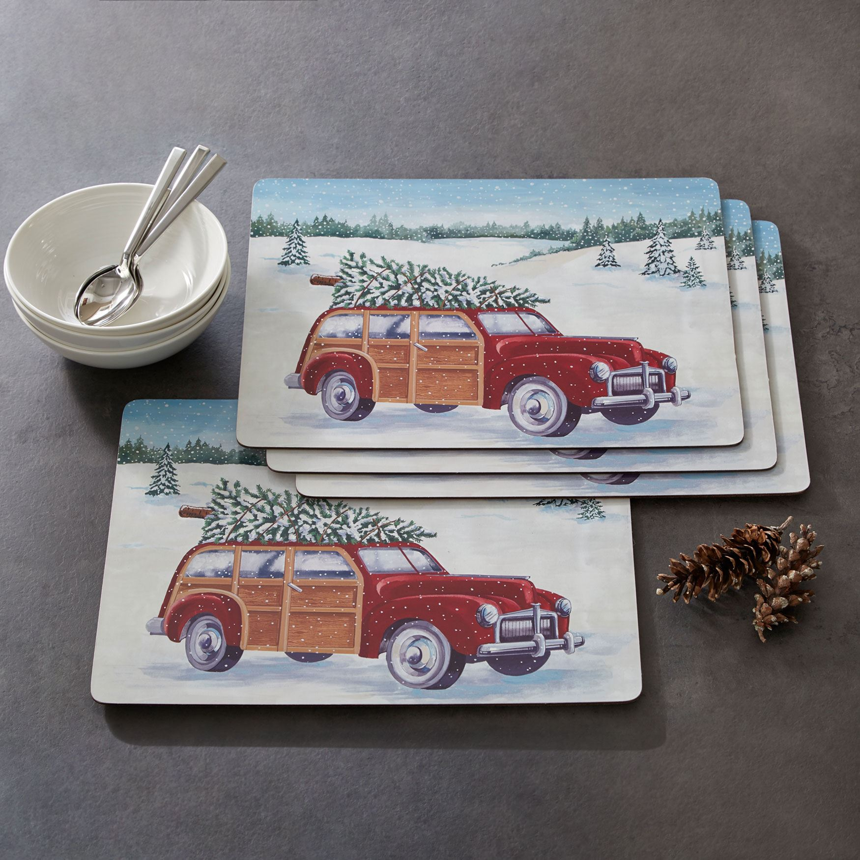 Home For The Holidays Placemats, Set of 4, MULTI