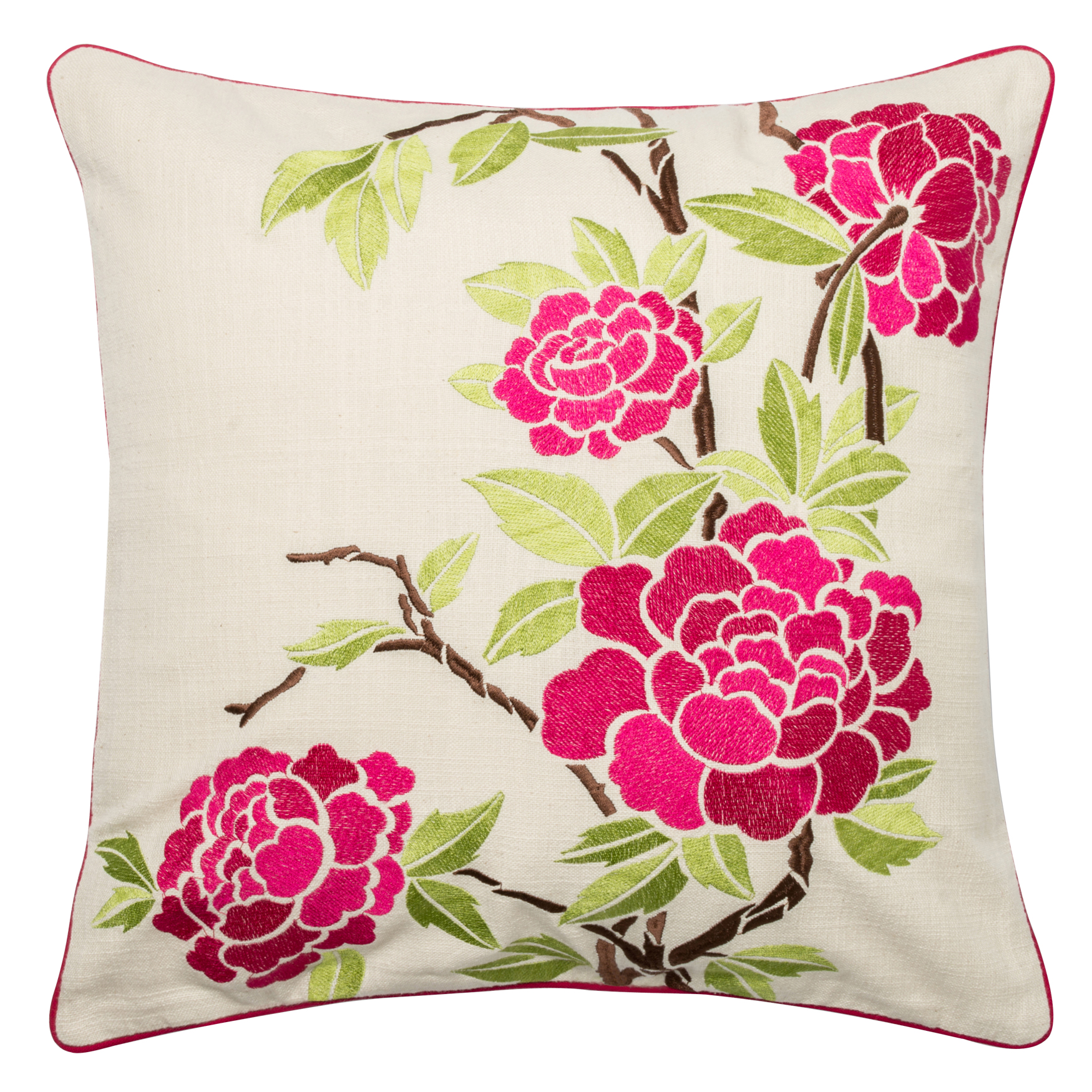 Leaf & Floral Embroidery Dec Pillow, PINK IVORY