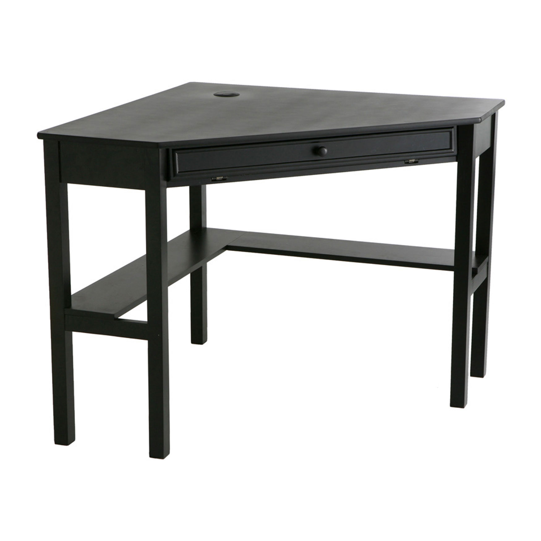 solid wood modern corner computer desk plus size office desks accessories brylane home. Black Bedroom Furniture Sets. Home Design Ideas