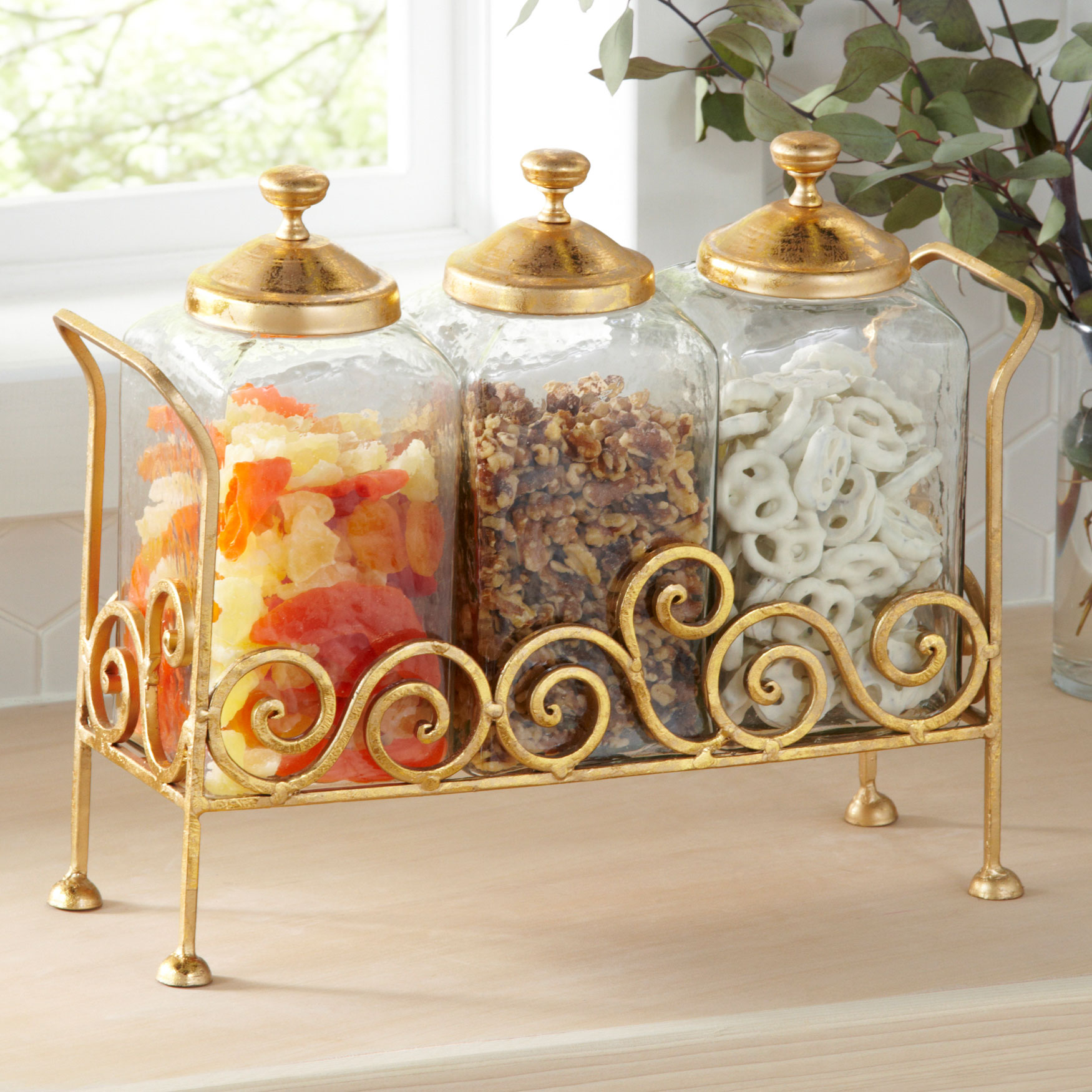 3-Pc. Glass Canisters with Lid & Stand, GOLD