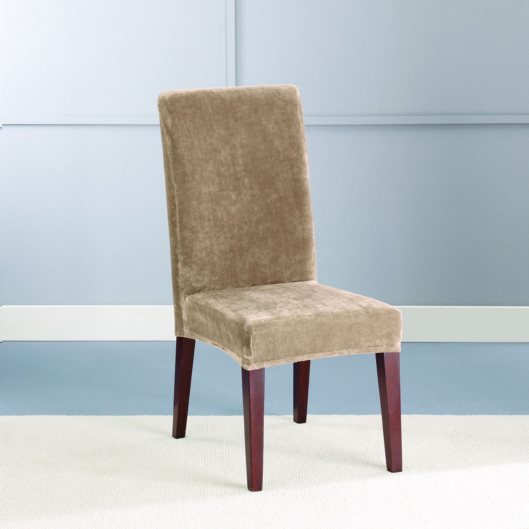 Stretch Plush Short Dining Chair Cover