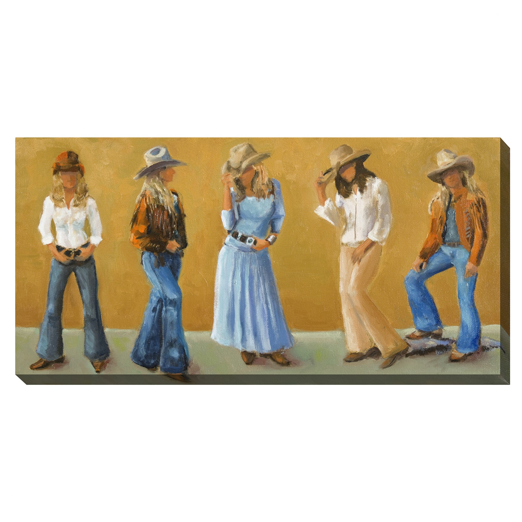 COWGIRLS OUTDOOR ART 48X24, MULTI