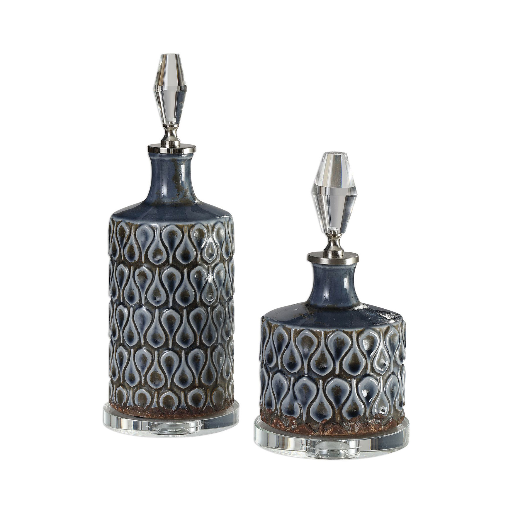 Varuna Cobalt Blue Bottles, Set of 2, COBALT BLUE