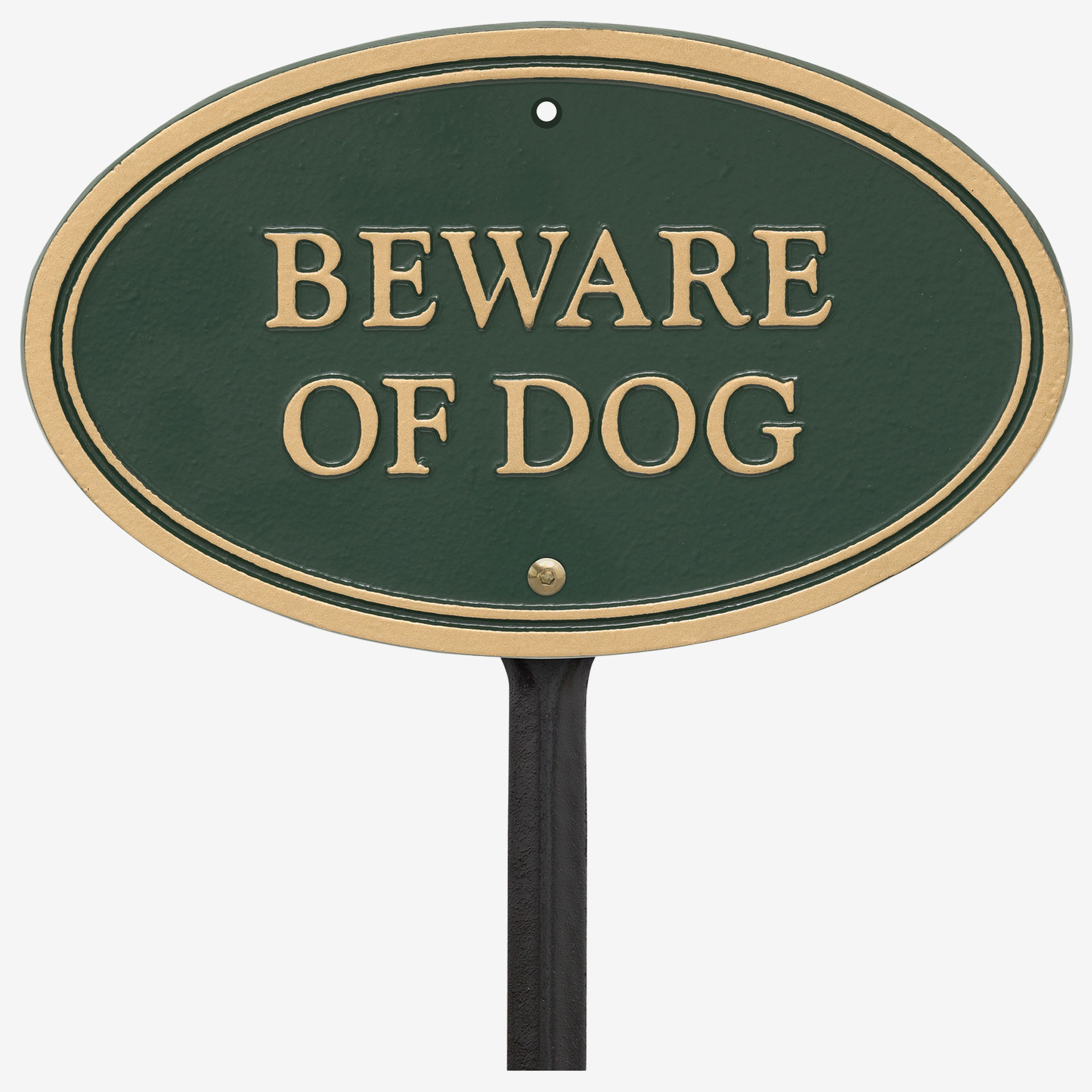 Beware of Dog Oval Wall/Lawn Statement Plaque,