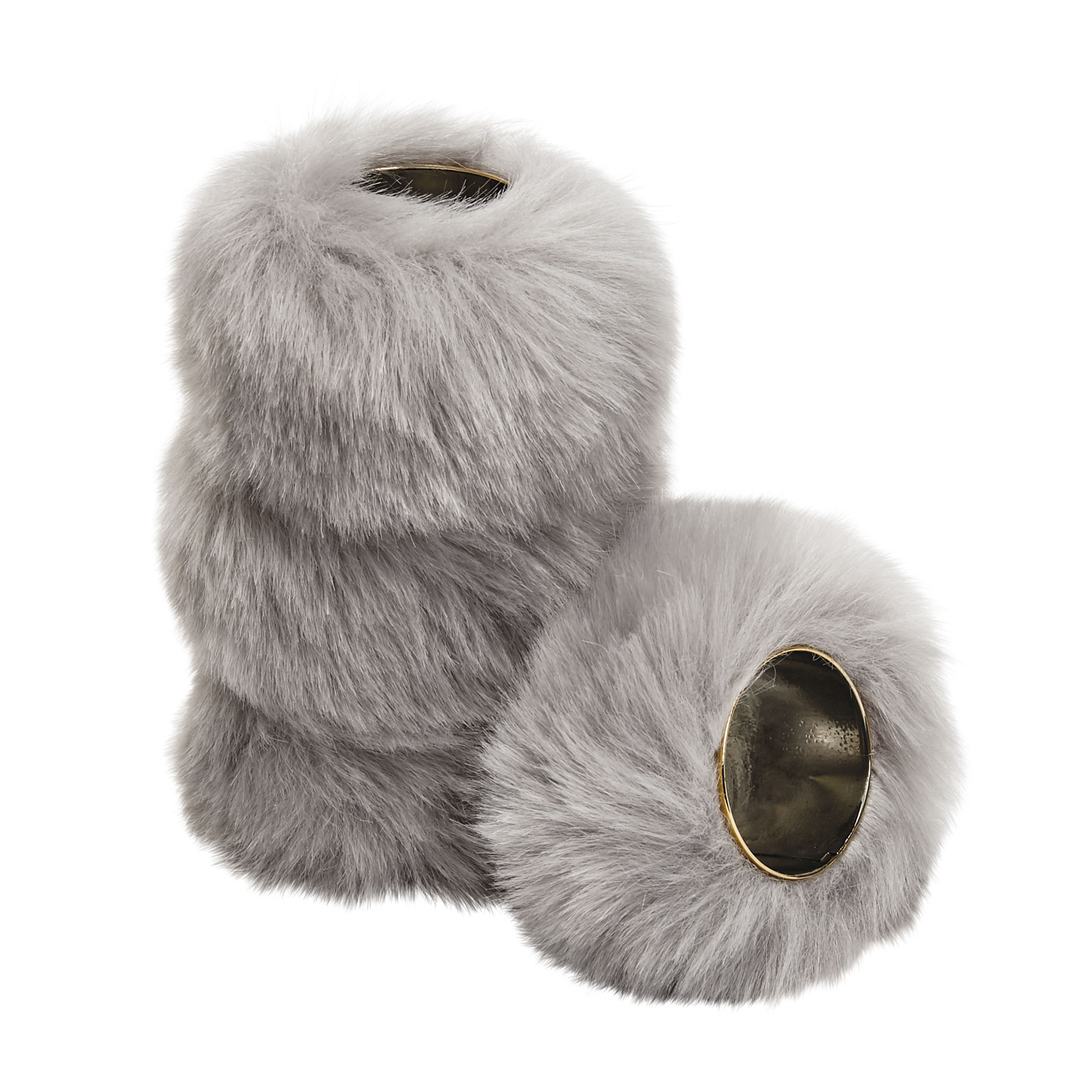 Faux Fur Napkin Rings, Set of 4, GRAY