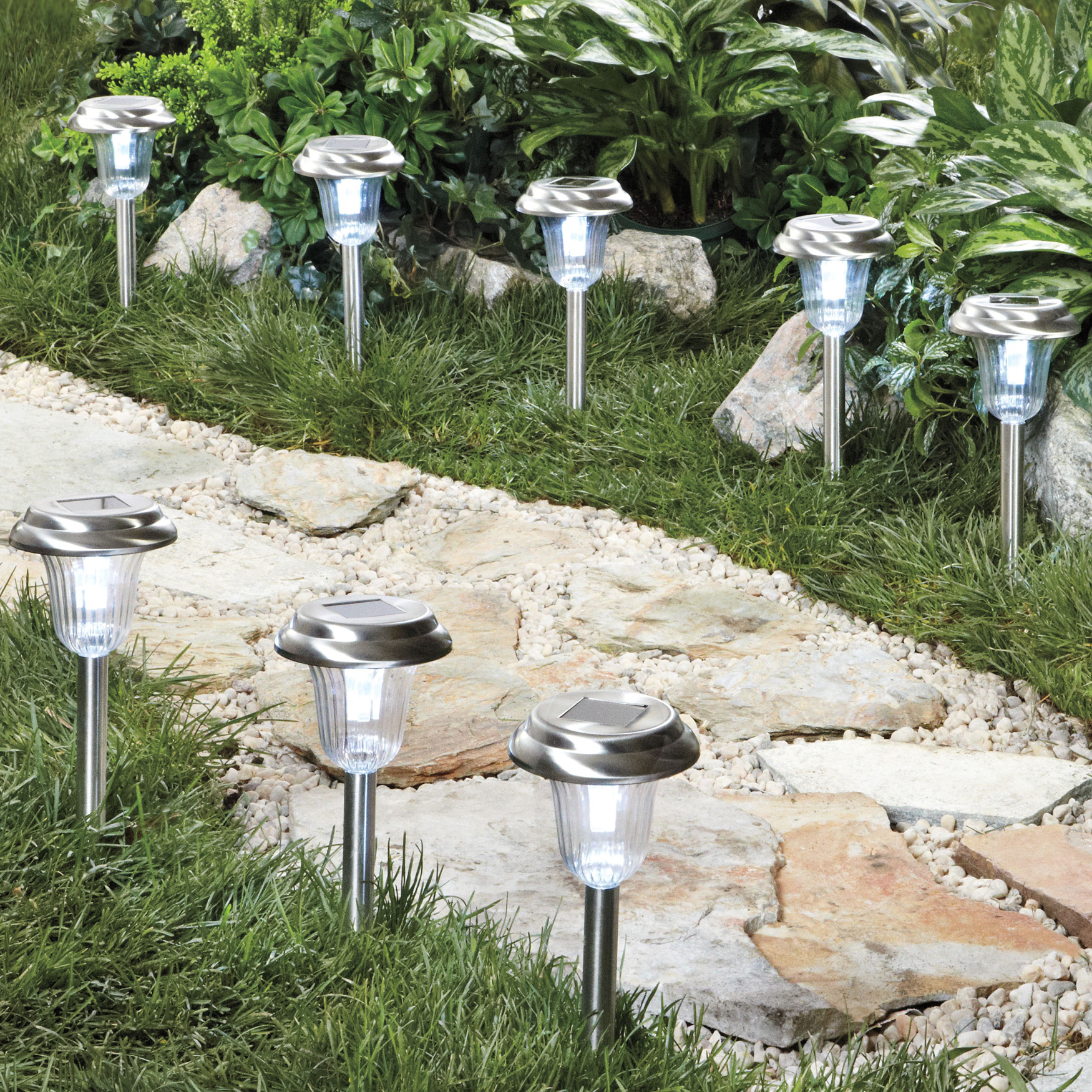 Stainless Steel Solar Pathway Lights, Set of 8, STAINLESS STEEL