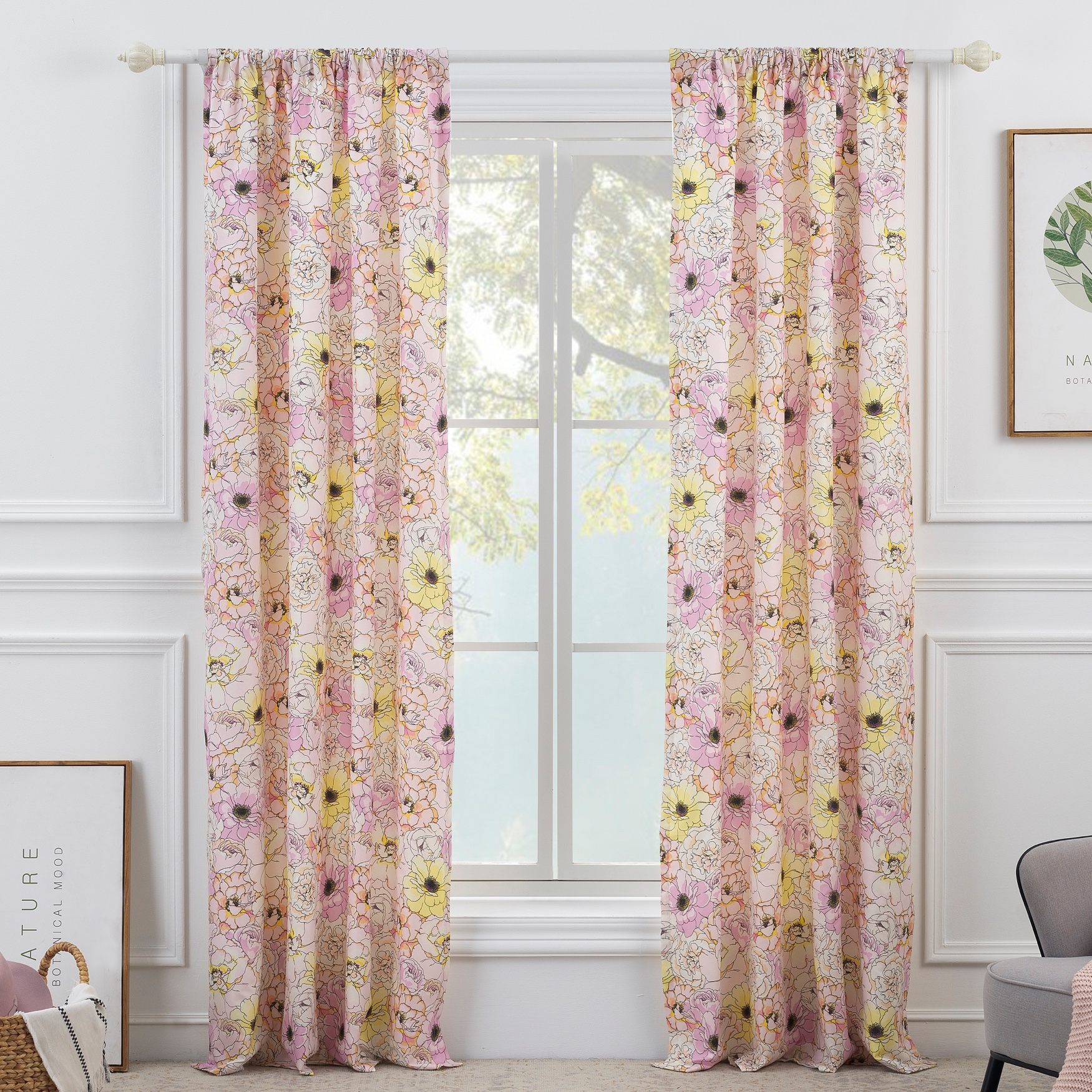 Greenland Home Misty Bloom Curtain Panel, PINK