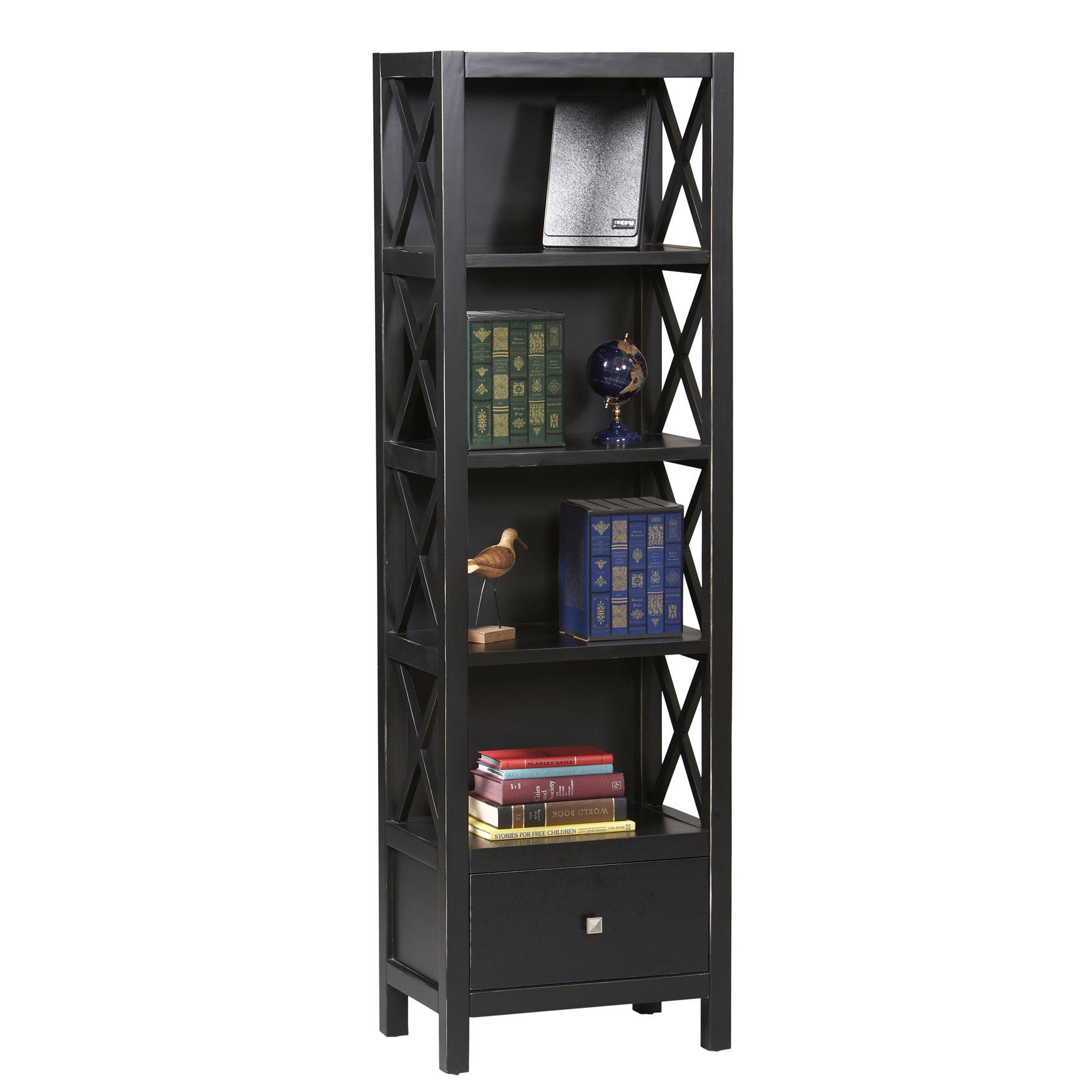 Anna tall narrow bookcase black