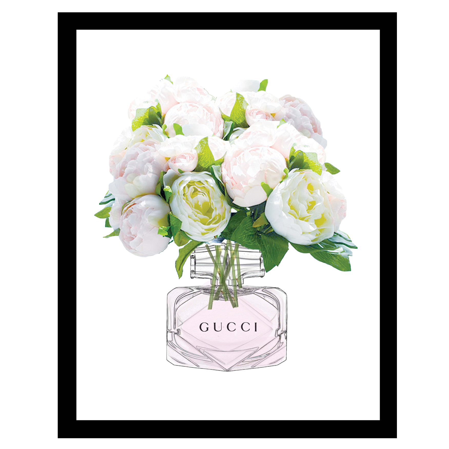 Gucci Perfume Bouquet - White / Green - 14x18 Framed Print, WHITE GREEN