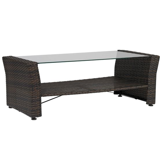 Santiago Glass Top Coffee Table, BROWN