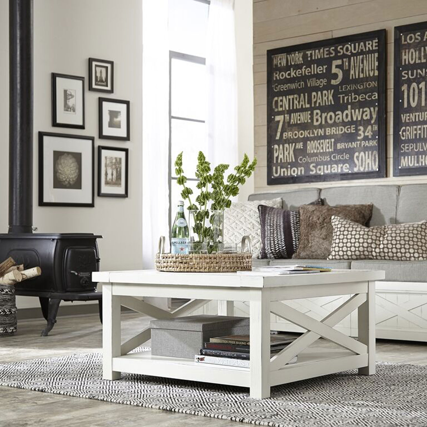 Seaside Lodge Coffee Table , WHITE
