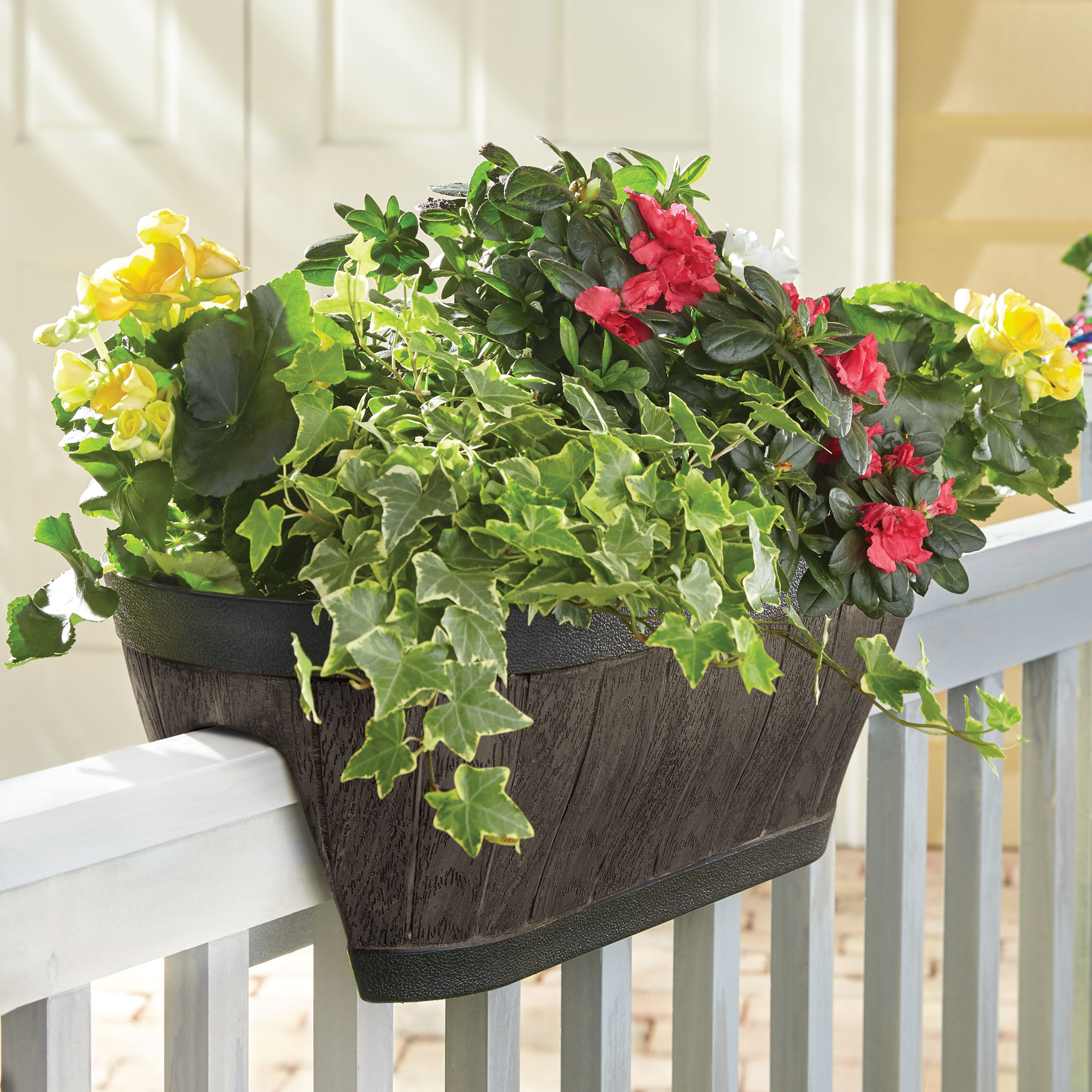 Oval Railing Planter, BROWN