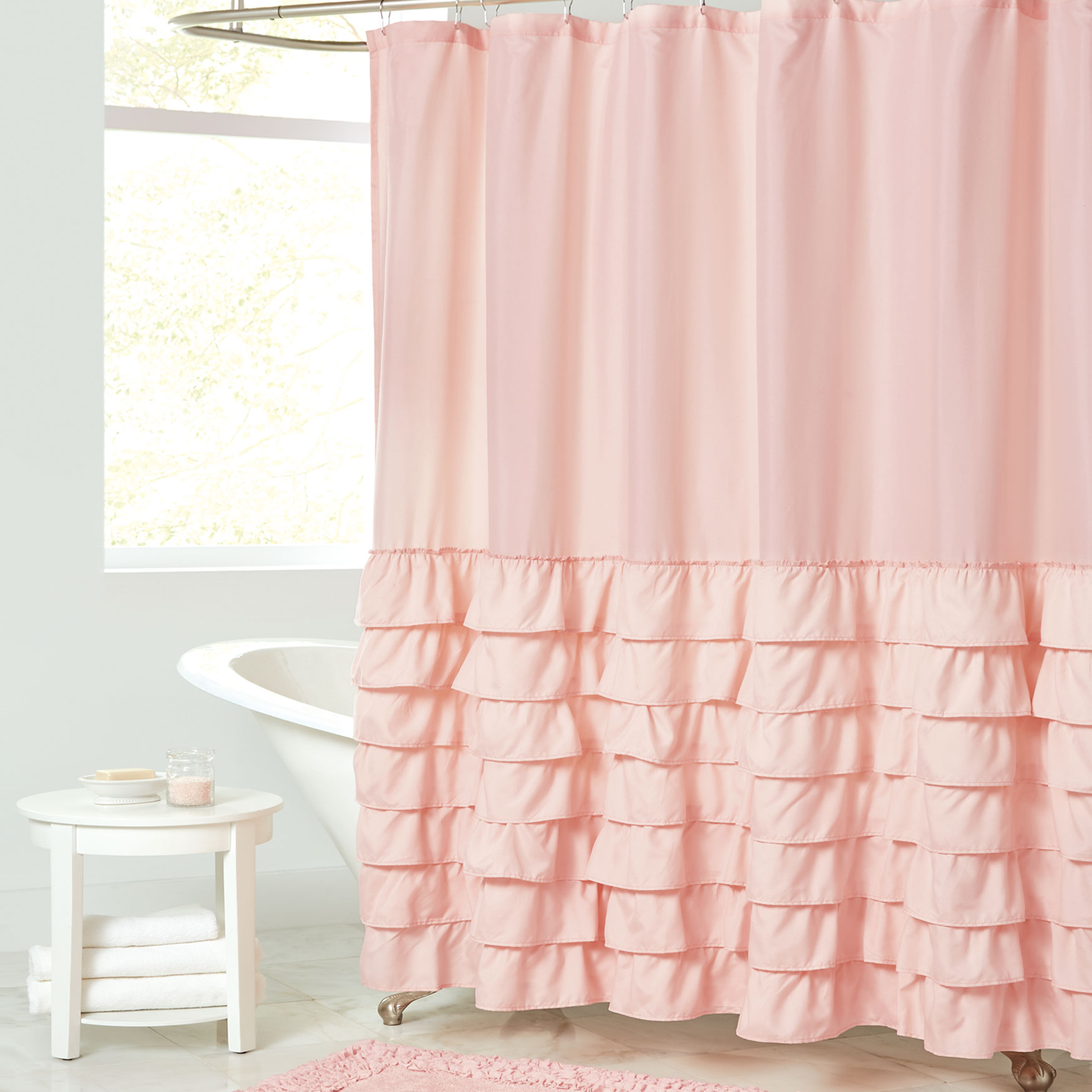 Melanie Ruffled Shower Curtain, PINK