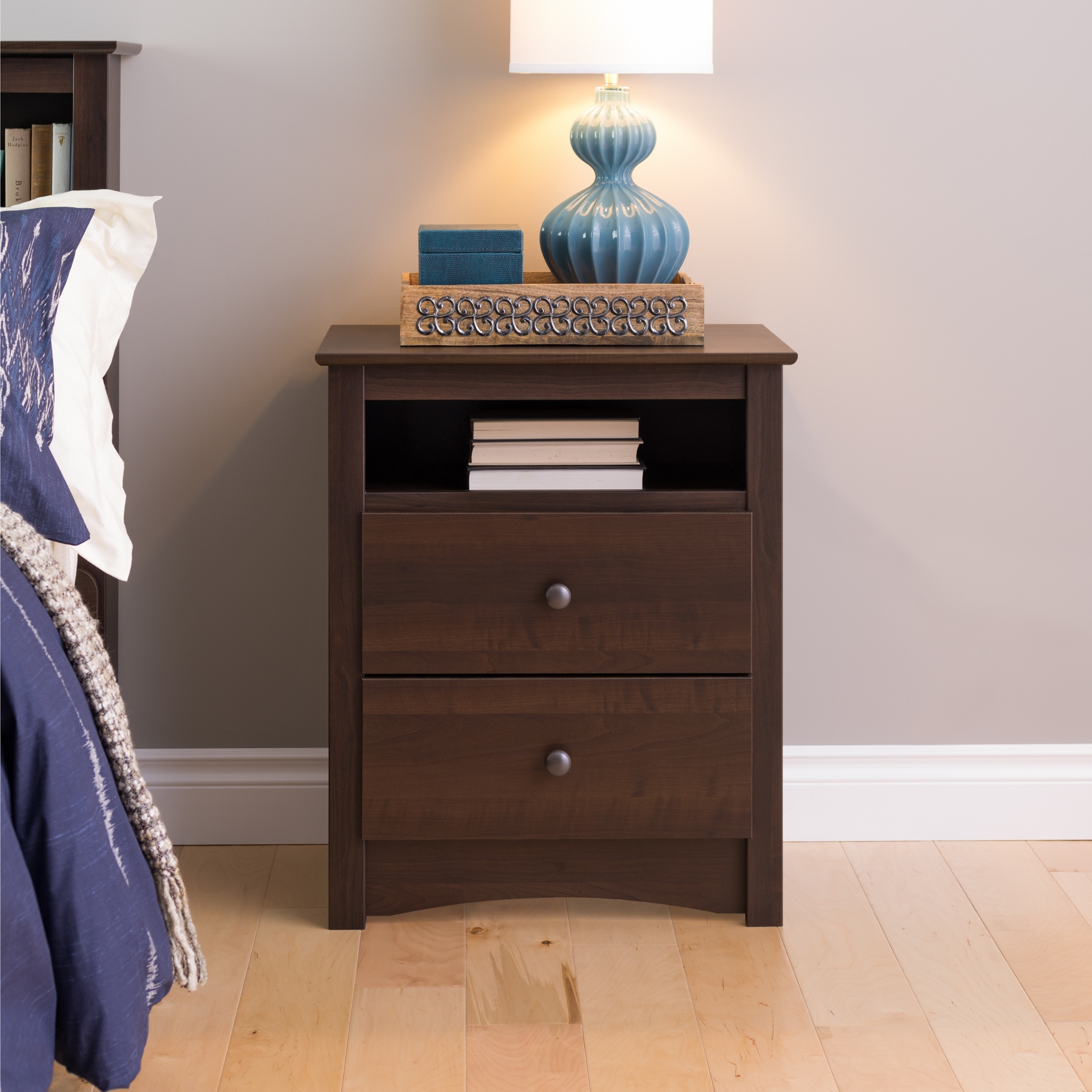 Fremont Tall 2-Drawer Nightstand with Open Shelf, Espresso, EXPRESSO
