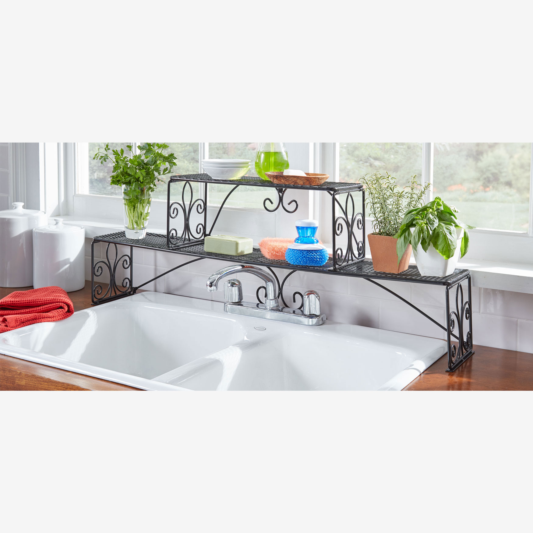 Brylane Home Kitchen: Scroll 2-Tier Over Sink Shelf