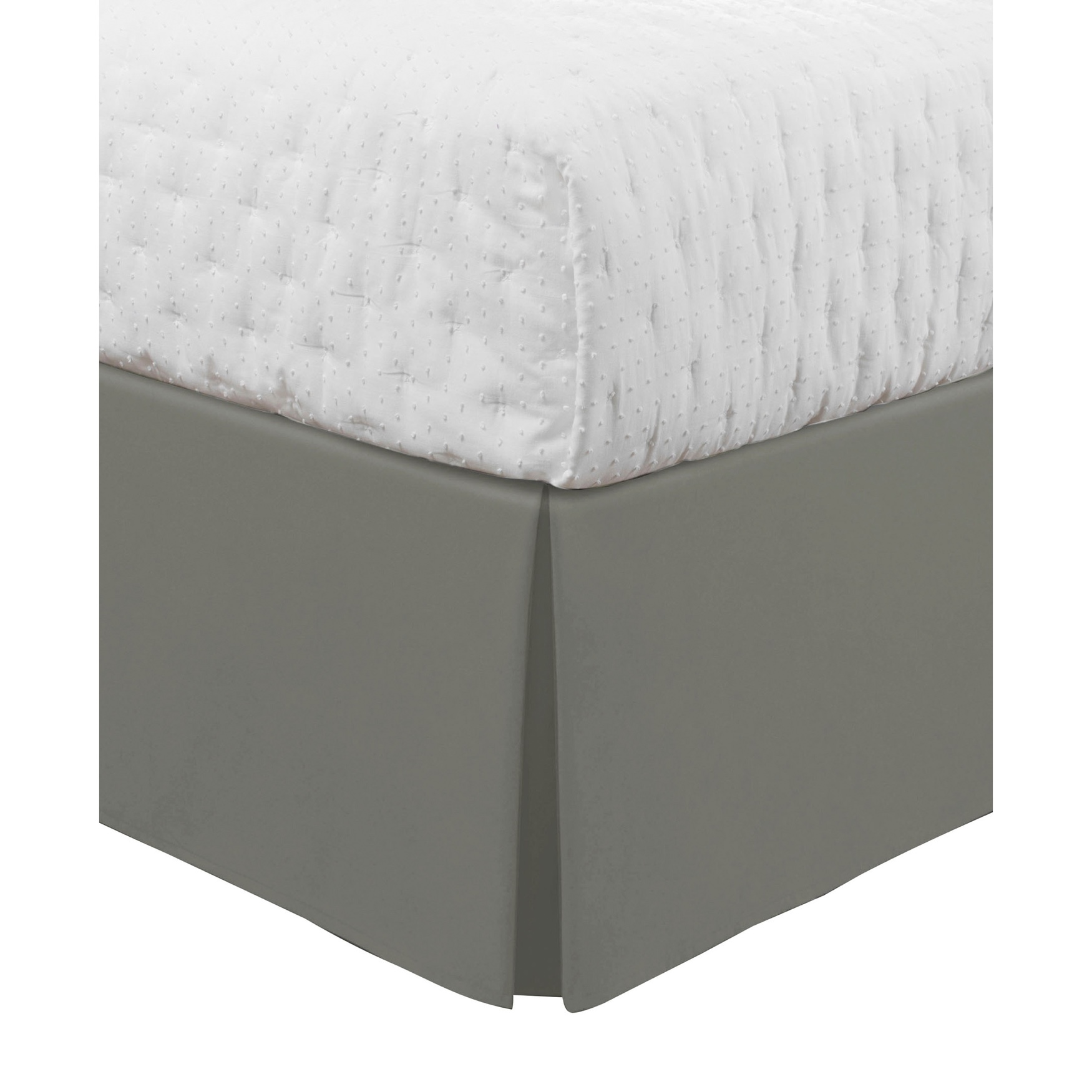 "Luxury Hotel Classic Tailored 14"" Drop Silver Bed Skirt,"