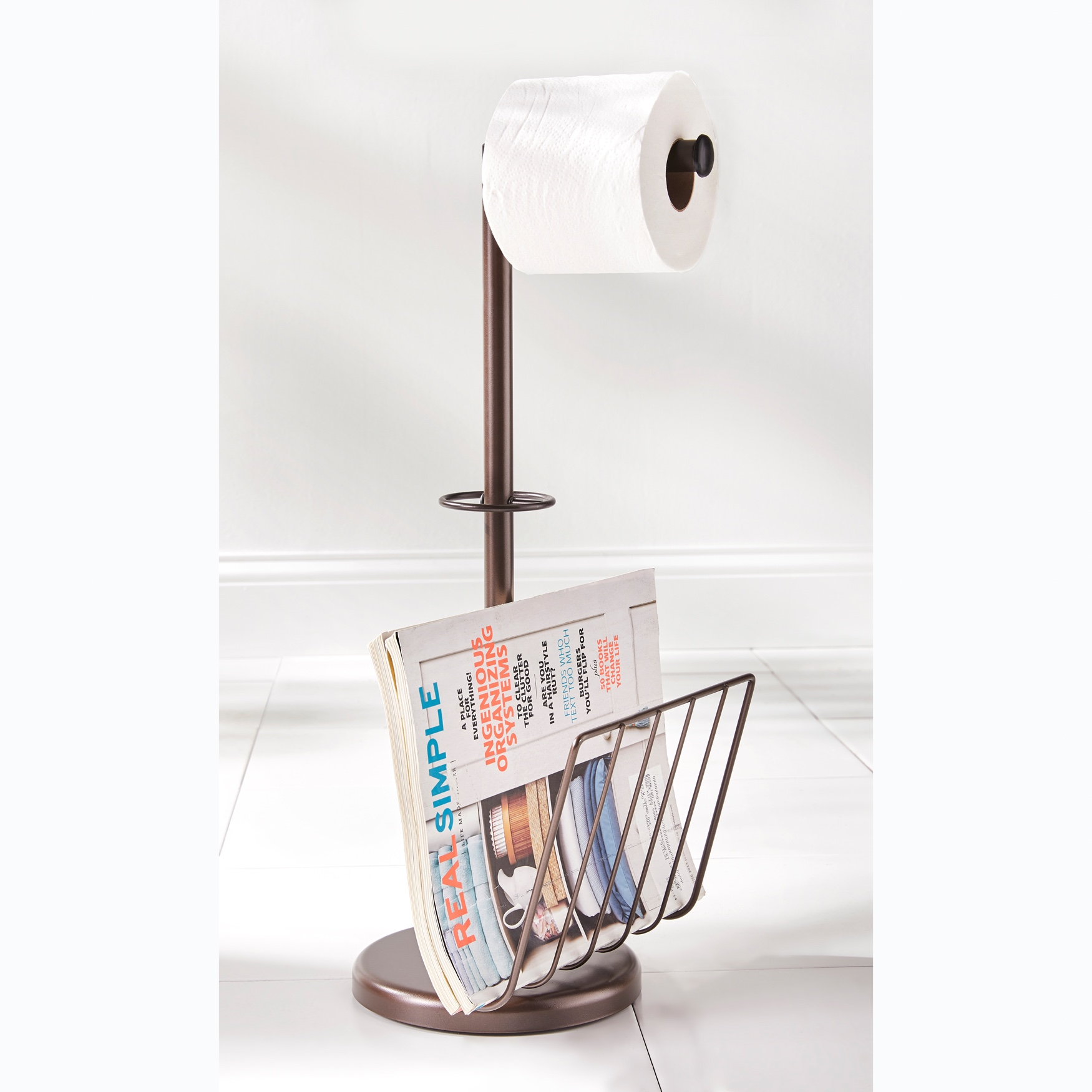 Toilet Paper Holder with Magazine Rack, BRONZE