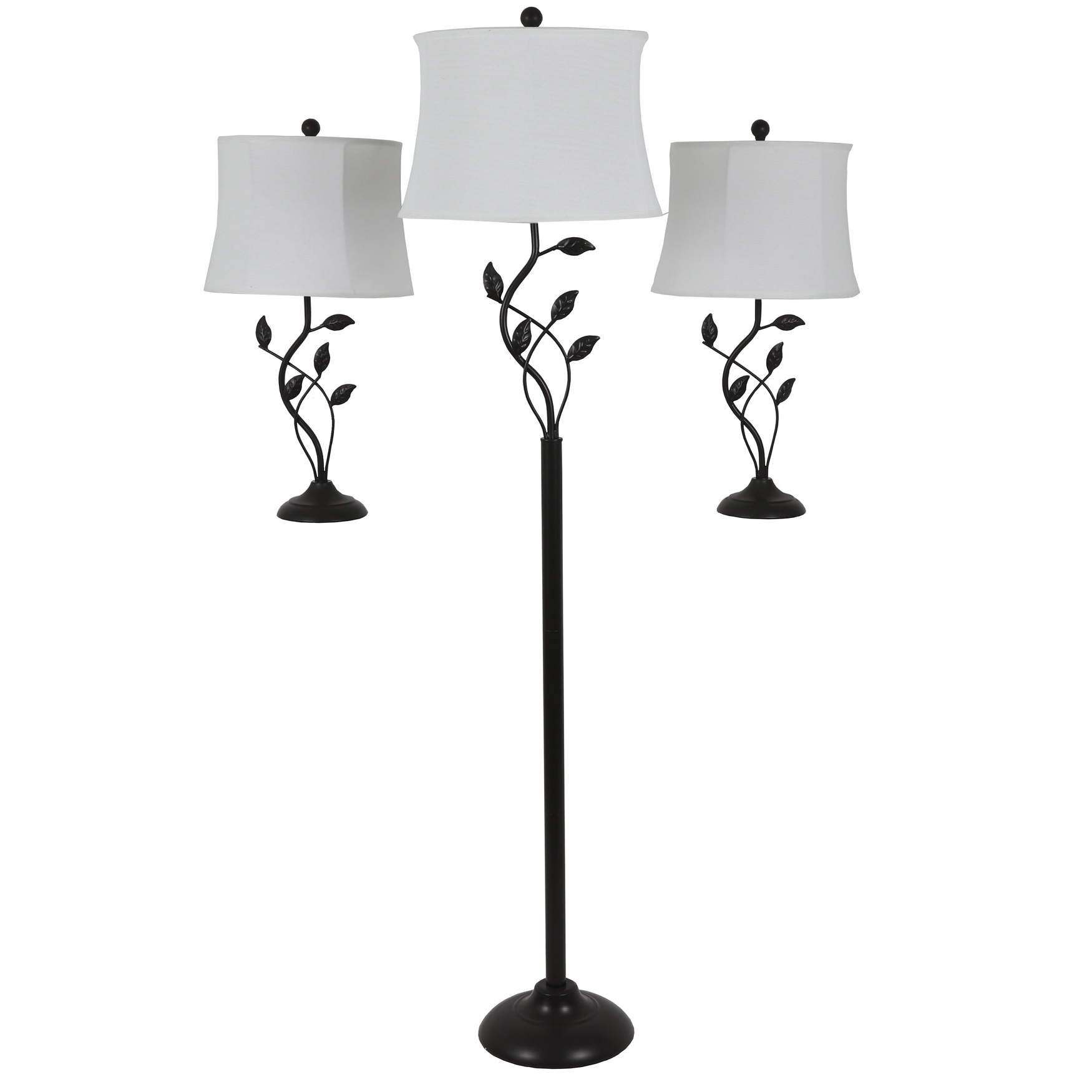 Organic Leaf 3-Pack Lamp Set by J. Hunt, PAINTED BRONZE