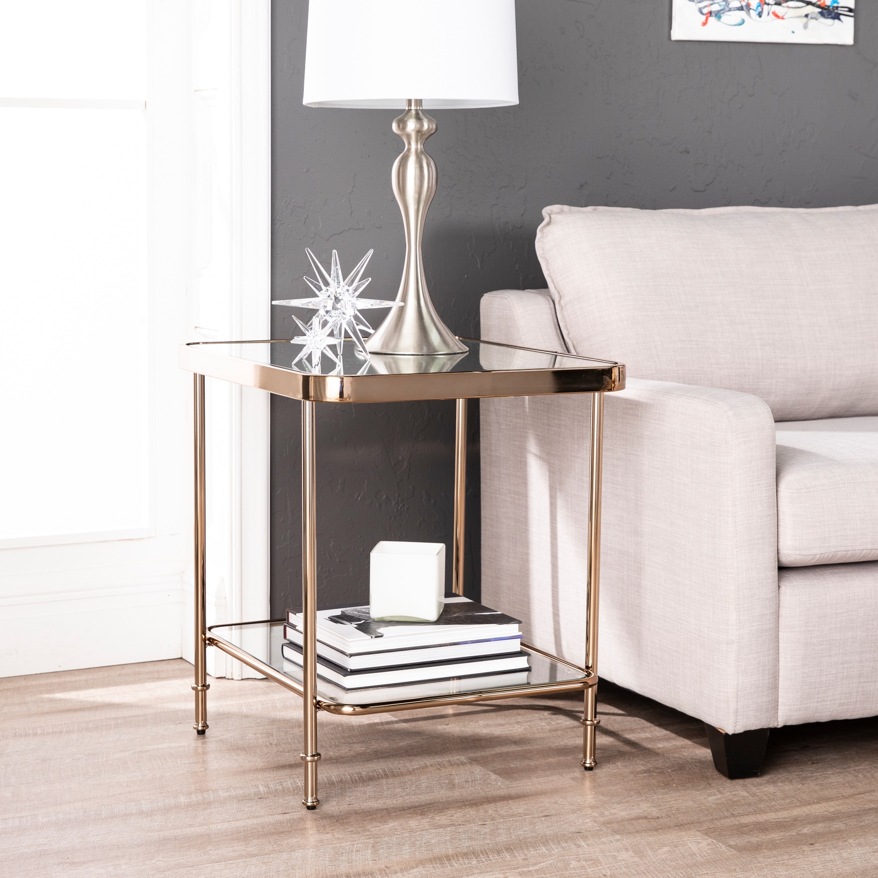Sandlin Mirrored End Table, CHAMPAGNE